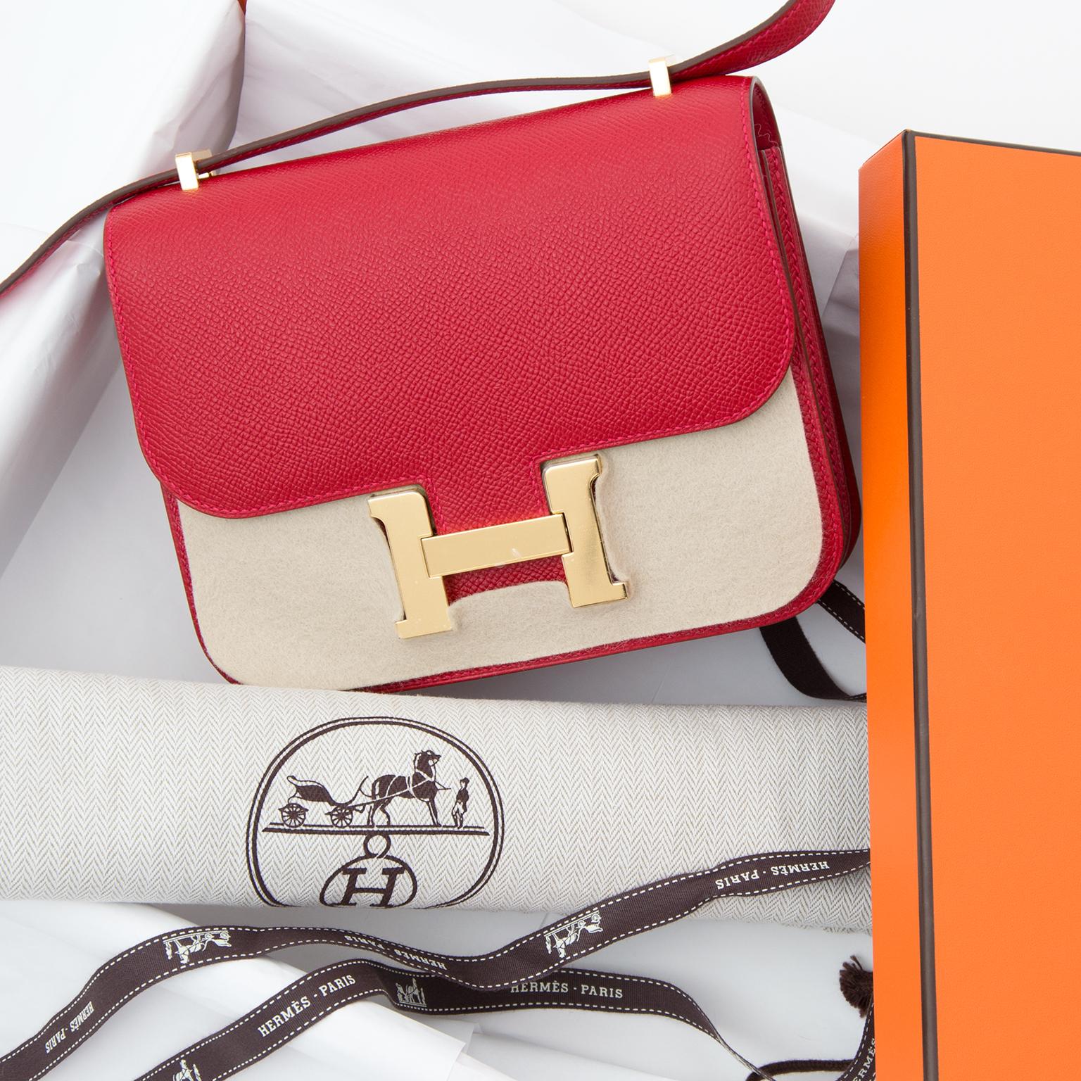 4229aebec1 ... new style brand new hermès mini constance iii veau epsom rouge casaque  acheter en ligne seconde