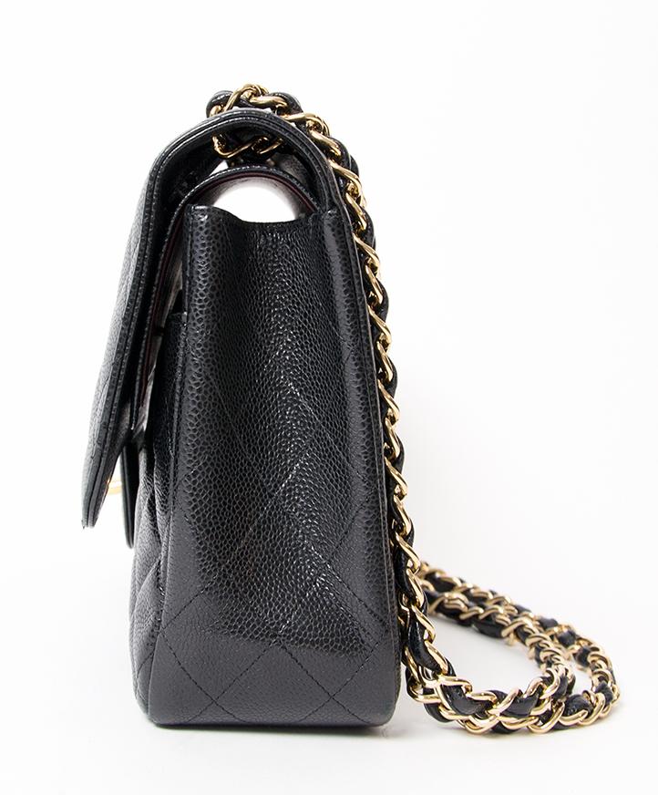 03c25ddefc312 ... koop veilig en snel 2de hands Chanel Black Caviar Jumbo Double Flap Bag  aan de beste