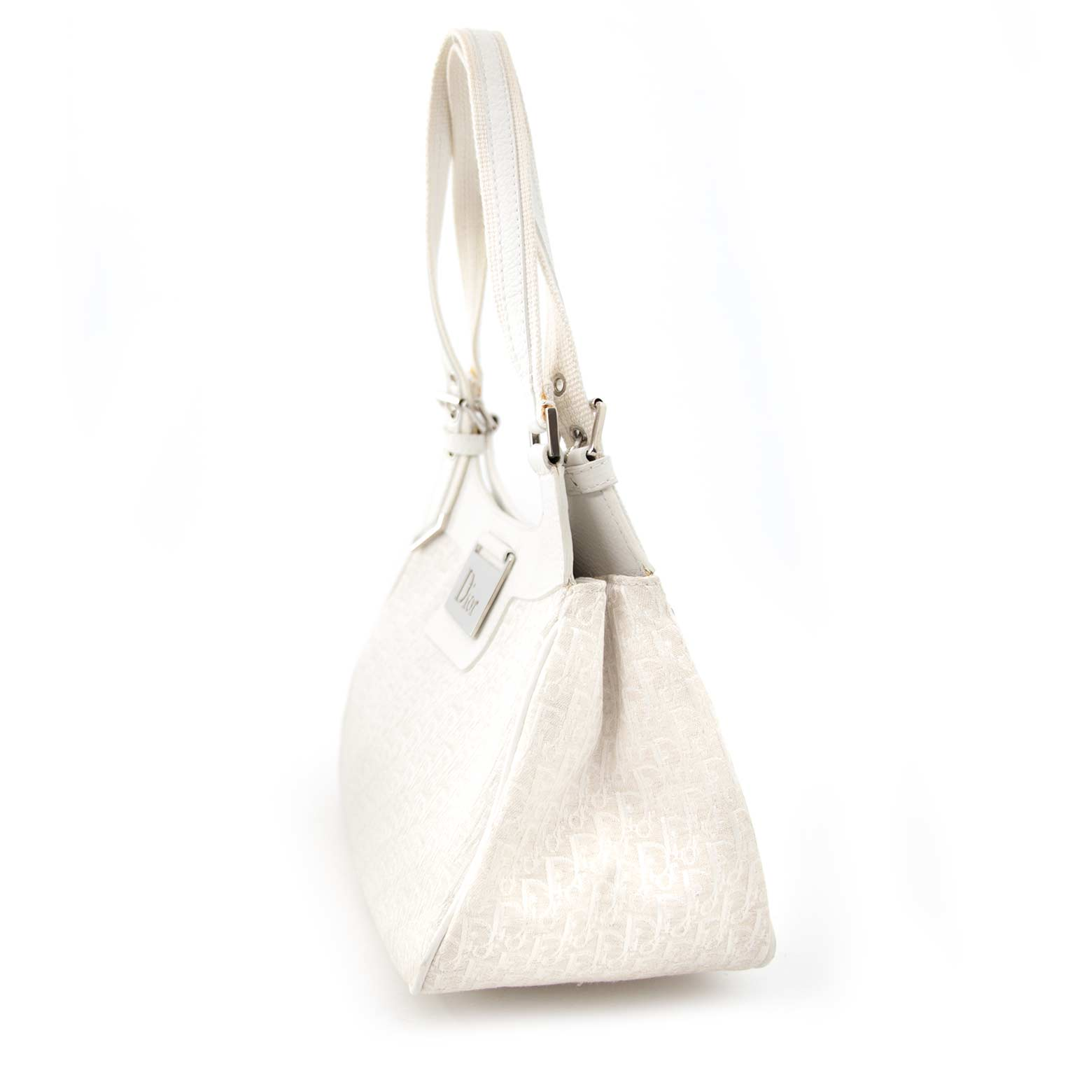 Secondhand designer items such as Dior White Monogram Shoulder Bag  for the best price available online at Labellov