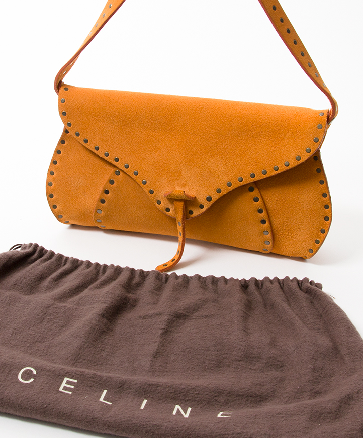 ... Céline Ochre Suede Studded Saddle Bag authentic secondhand safe online  shopping fashion LabelLOV Antwerp webshop Belgium 6511a7c727f60