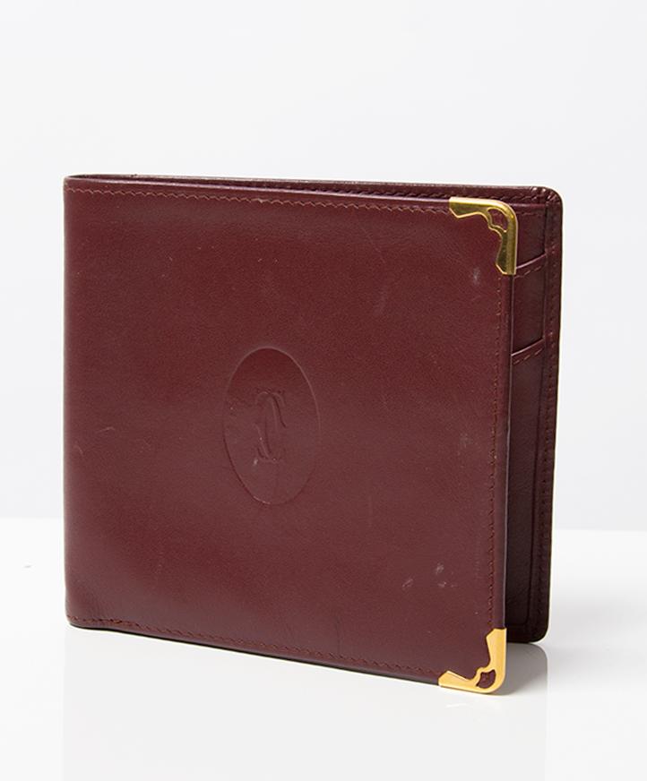 Tweedehands designer vintage le must de Cartier authentiek leren portemonee online webshop labellov