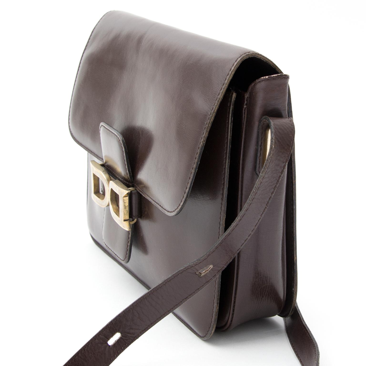 c4c3e6be1e0e Buy authentic secondhand Delvaux bags at the shop safe online secondhand  designer vintage Delvaux Dark Brown Bourgogne Shoulder Bag