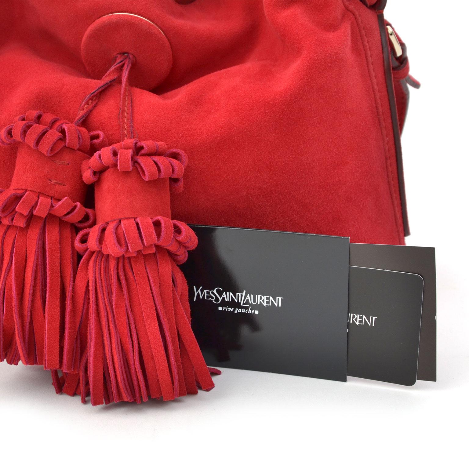 27aa006e067 Koop tweedehands YSL handtassen bij LabelLOV Antwerpen Yves Saint Laurent  Rive Gauche Suede Handbag Red. LabelLOV vintage webshop Antwerp, luxury  handbags