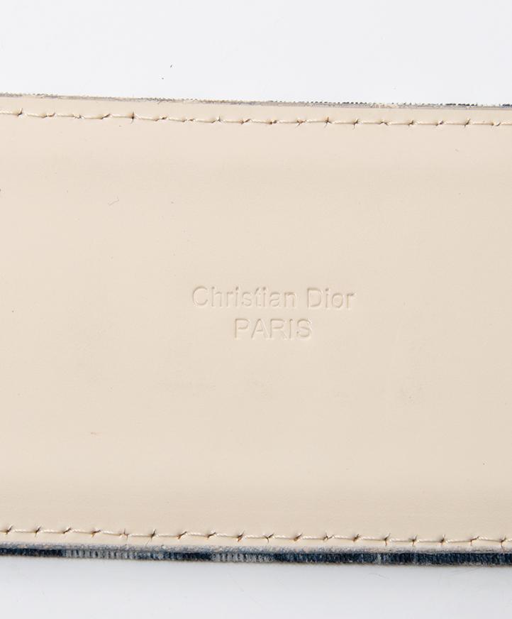 Tweedehands Christian Dior monogram blauw grijs riem veilig online labellov webwinkel koop authentieke designer vintage luxe merken