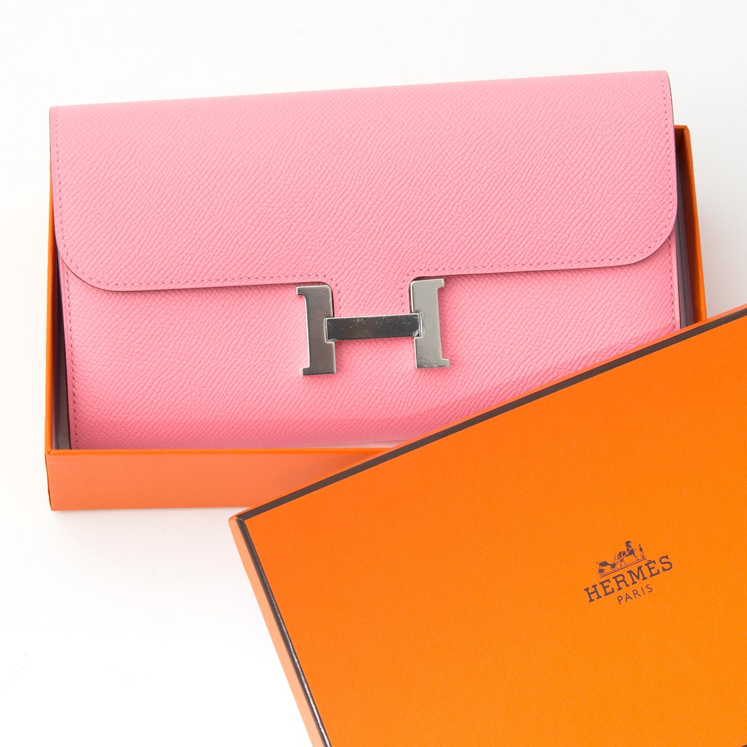 86da51449222 ... koop snel en veilig online tweedehands BRAND NEW Hermes Constance Long  Wallet Veau Epsom Rose Confetti