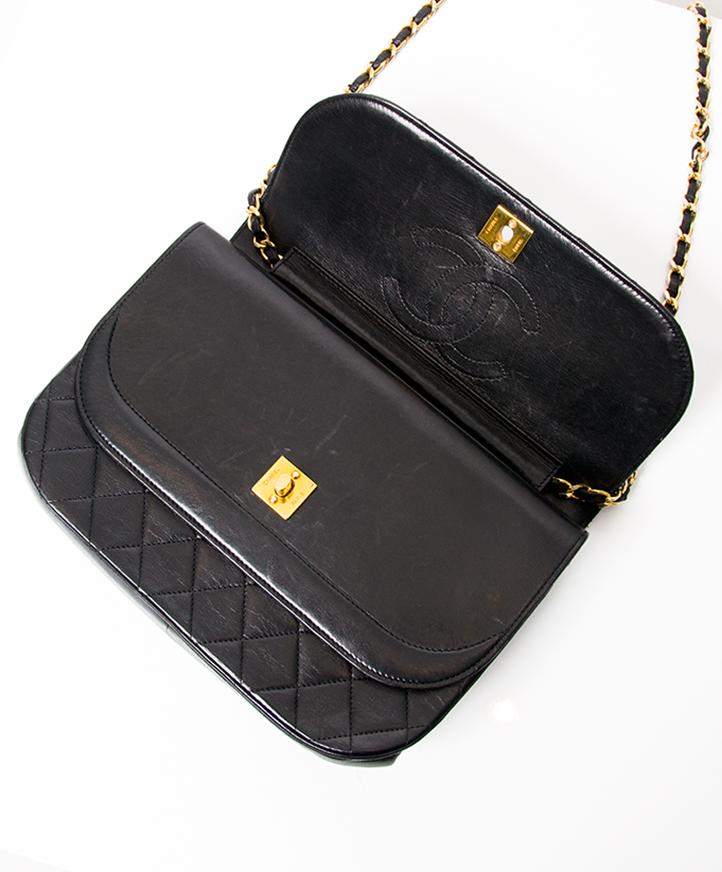 1370483ea110 ... Chanel Black Quilted Flap Bag. Vintage Chanel Bag Chanel in smooth black  lambskin.