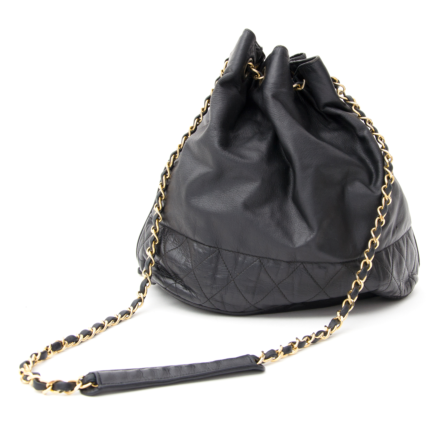 50c42b9ba1b5 ... Chanel Black Bucket Drawstring Bag Labellov for an wide variety of  secondhand vintage Hermes bags for