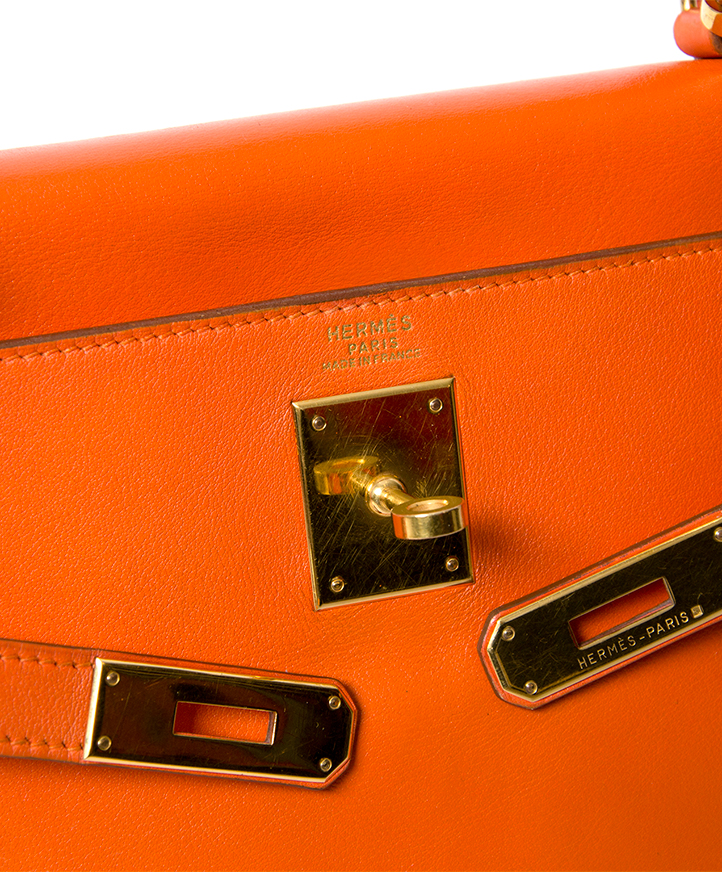 Hermes Orange Kelly 32 GHW + STRAP vintage for the best price worldwide shipping webshop labellov