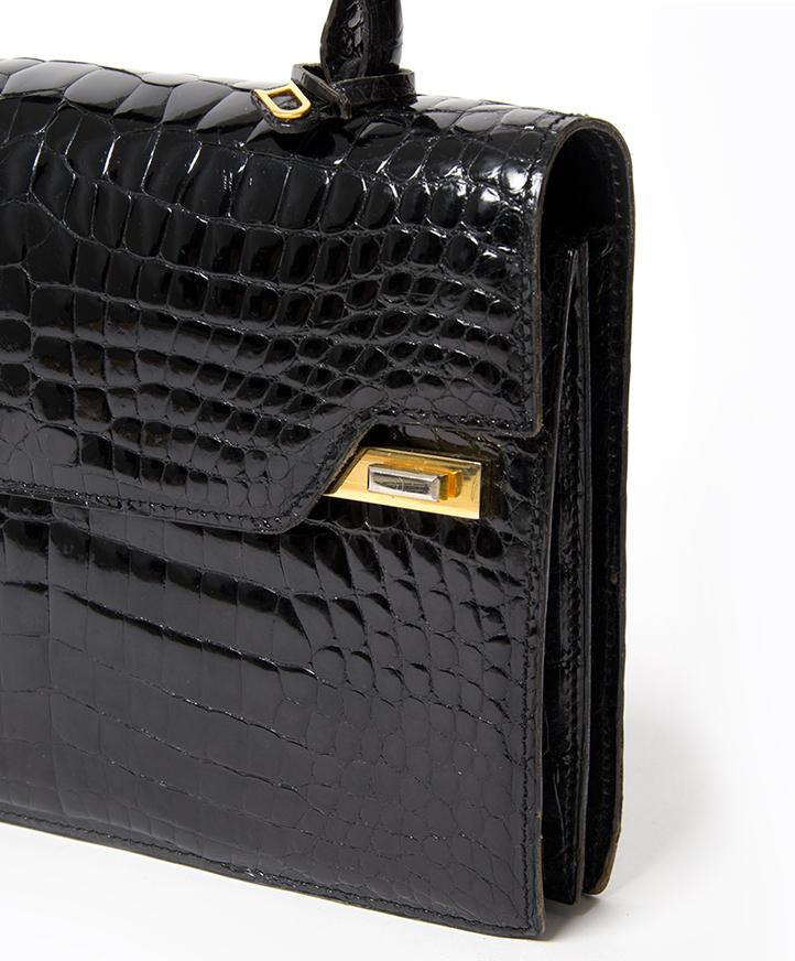25c5a1d6c8373 ... buy safe online second hand designer vintage delvaux croco top handle  bag best price second hand