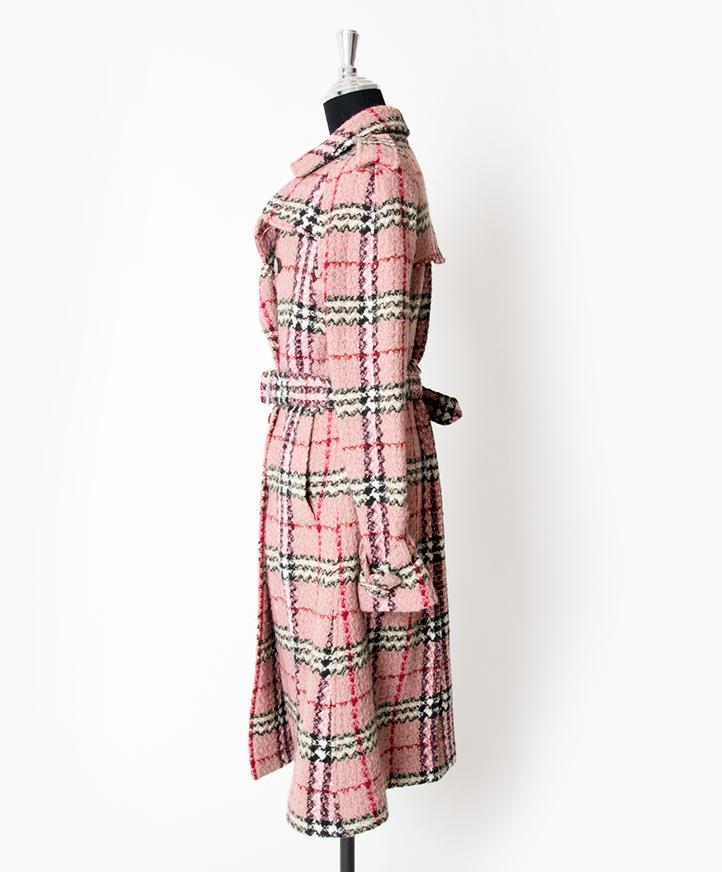 Burberry Pink Checkered Trench Coat authentique shopping securé sécurité en ligne mode en vogue seconde main luxe marques designer