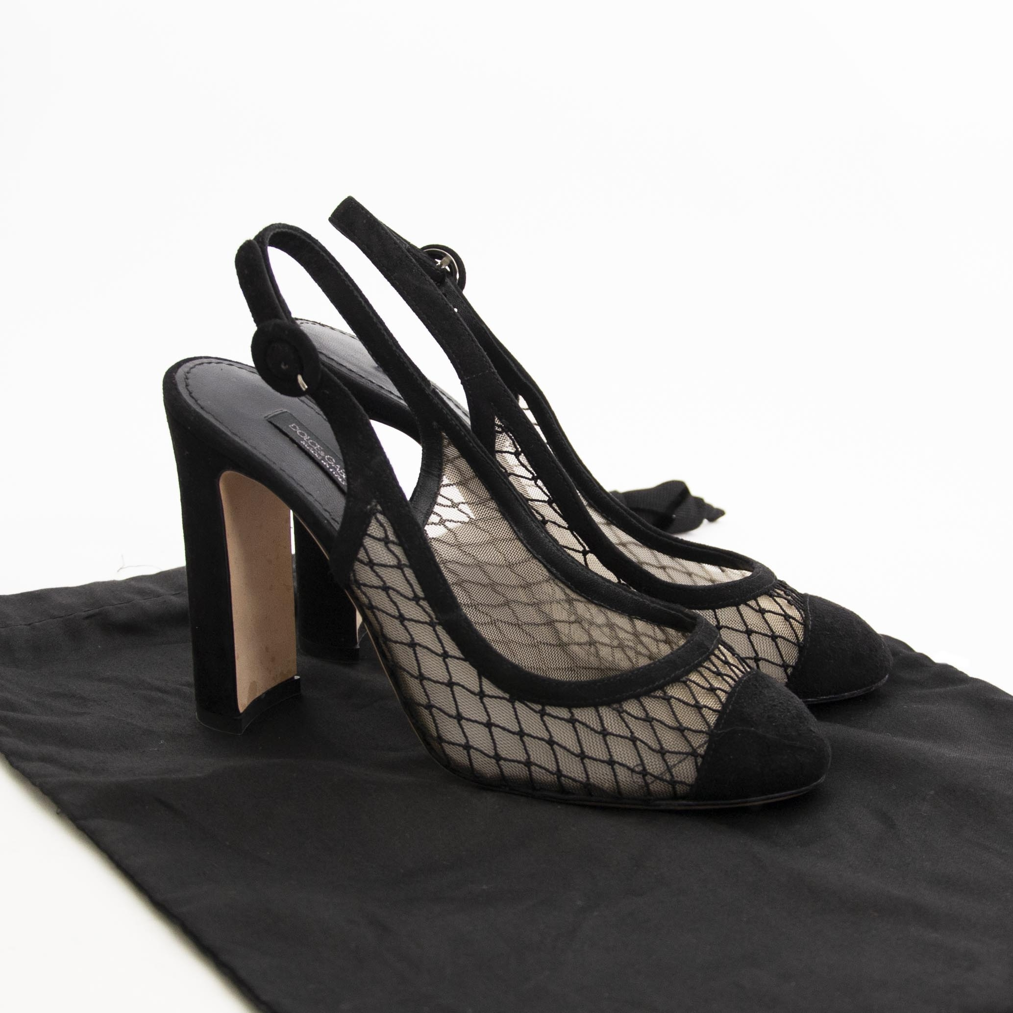 Dolce & Gabbana Mesh Ankle Strap Pumps - Size 36 now for sale at labellov vintage fashion webshop belgium