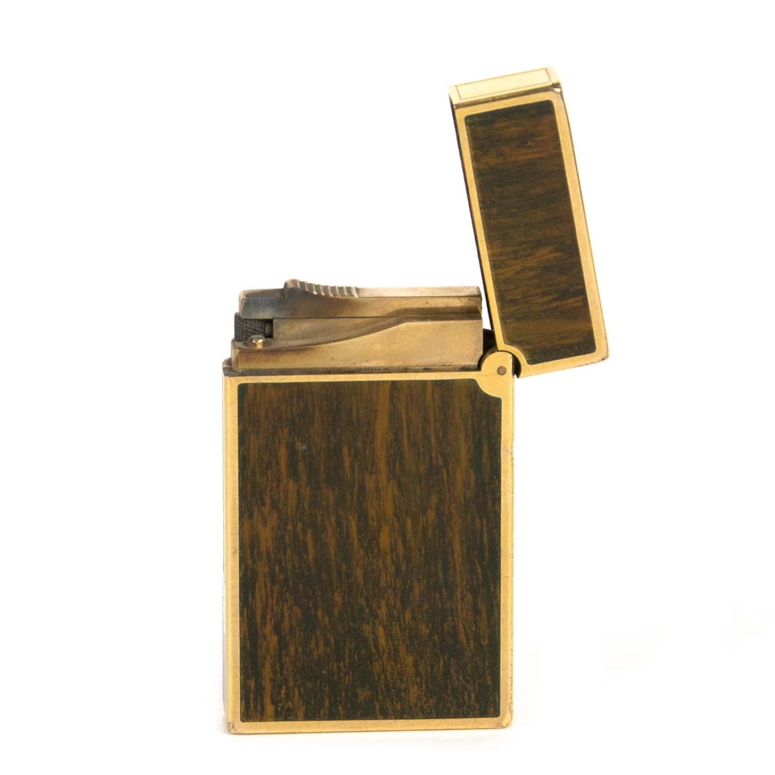 S.T. dupont line 2 dark brown lighter for sale at labellov vintage fashion webshop belgium