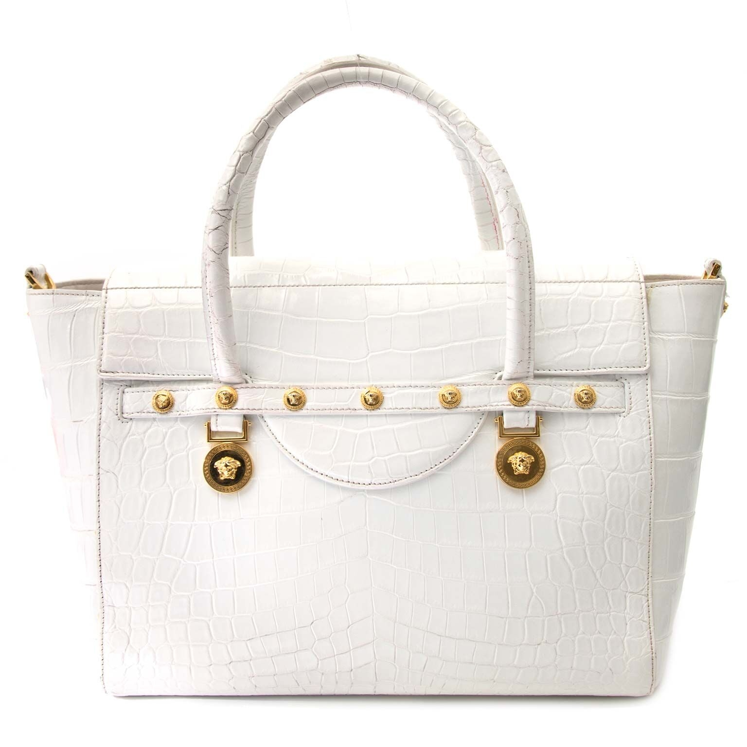 koop versace white signature large crocodile tote bag bij labellov