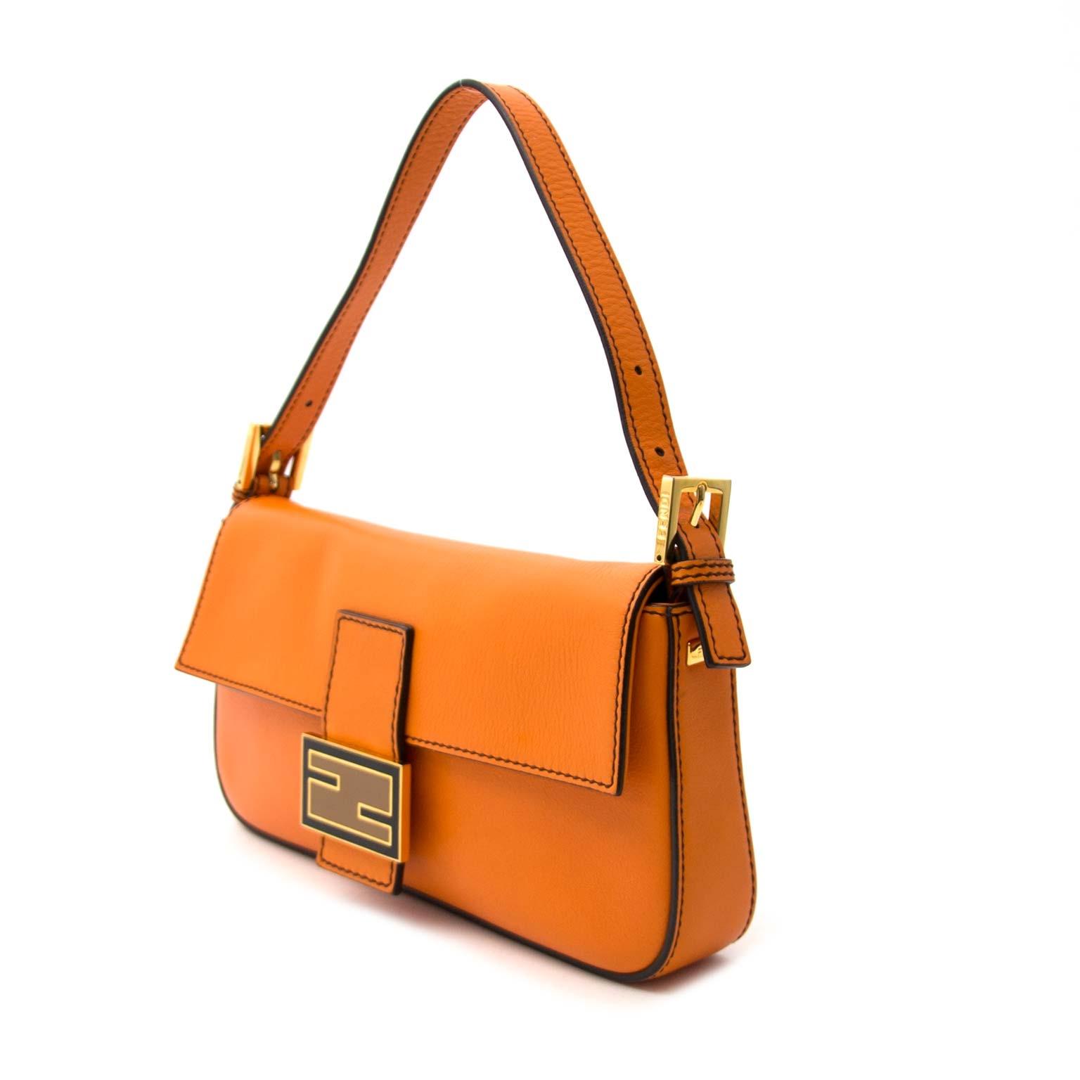 117c4cd6e7f ... Fendi Orange Baguette Shoulder Bag Buy authentic designer Fendi  secondhand bags at Labellov at the best