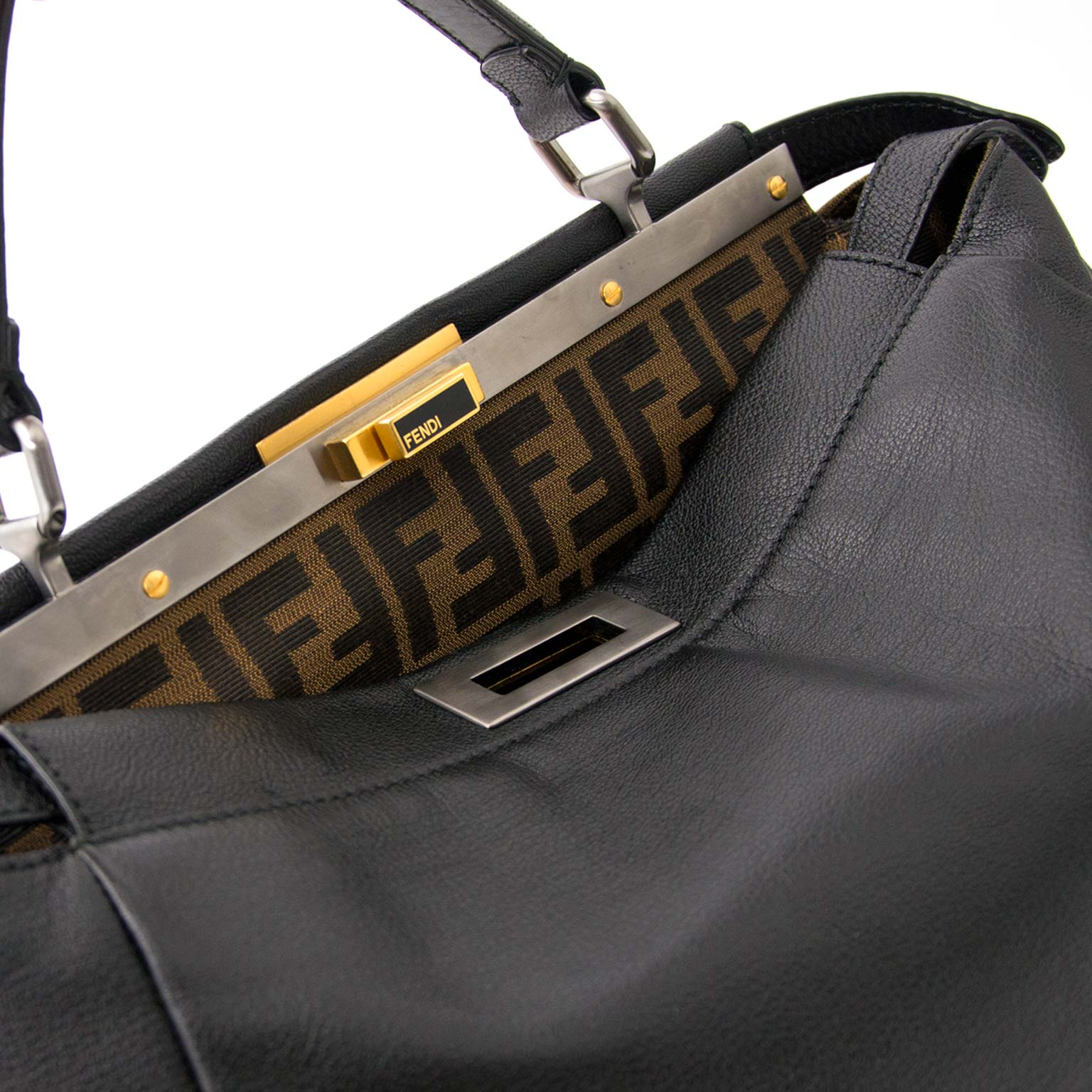 skip the waitinglist get your hands on this secondhand Fendi Black Monogram-Lined Peekaboo Bag