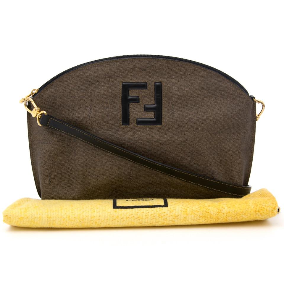Fendi Beige black shoulderbag vintage real real luxury secondhand