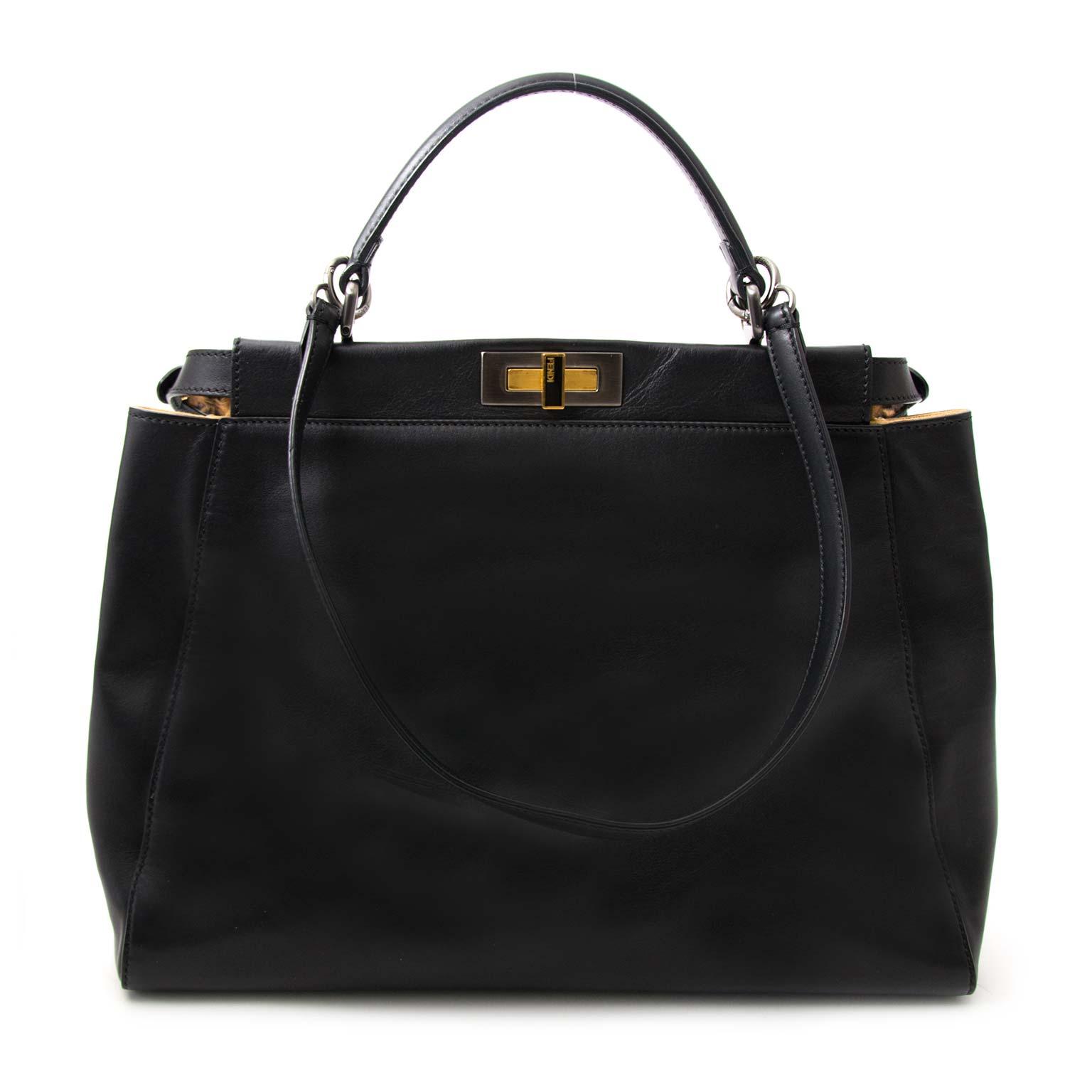 skip the waitinglist 100% authenetic as new Fendi Black Leopard-Lined Peekaboo Large Bag