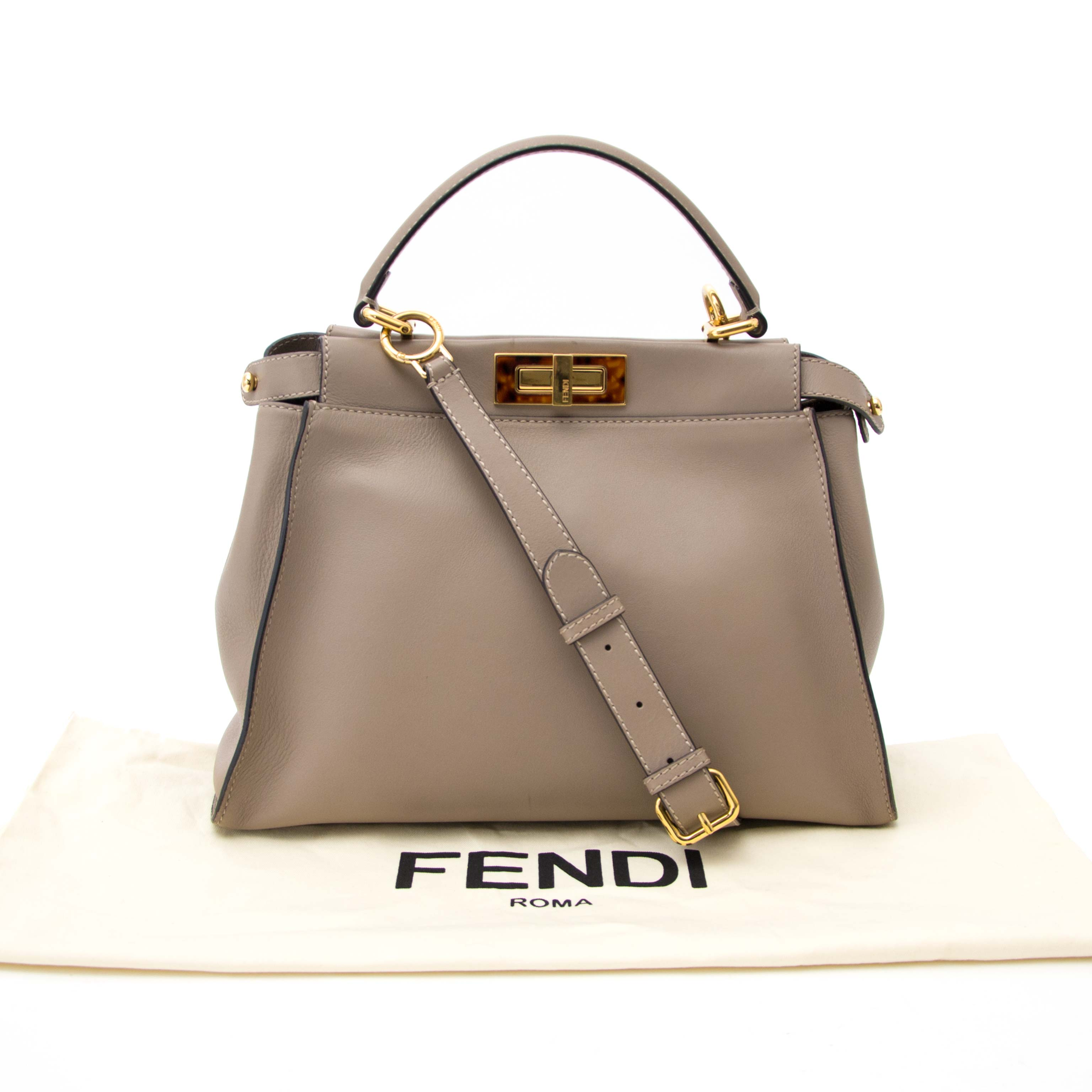 koop online aan de beste prijs Fendi Peekaboo Dove Grey Leather Handbag