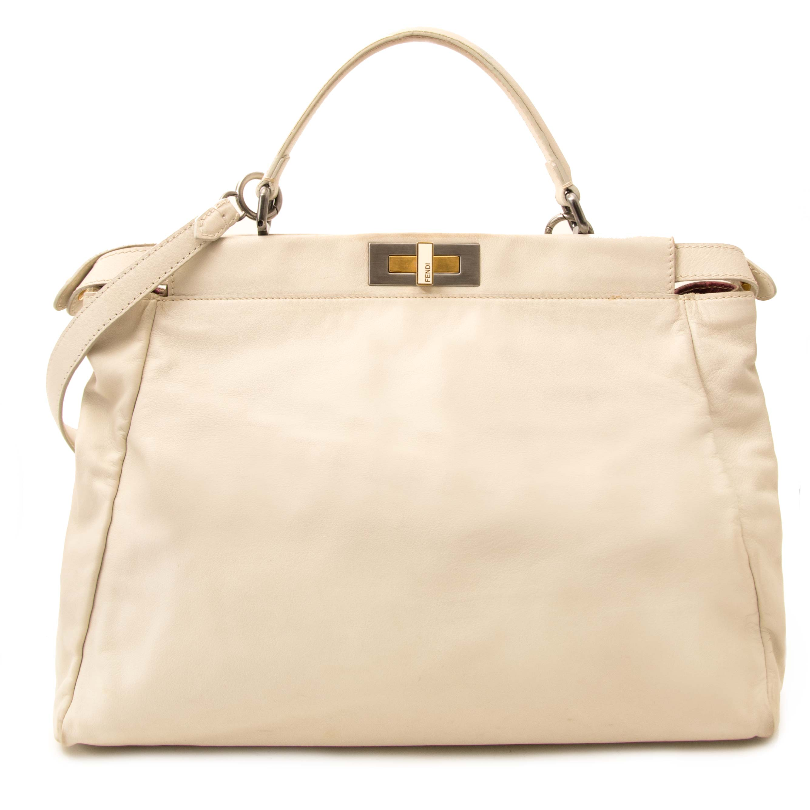 7535f6c05c ... acheter en ligne seconde main Fendi blanche cuire And rose Python Large  Peekaboo Bag