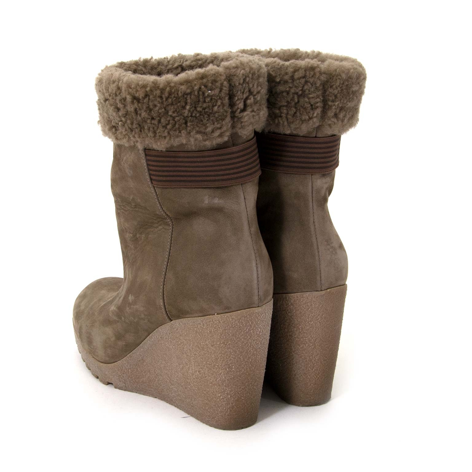 Winter fashion 2019 done right in these Fendi Taupe Mouton Wedges