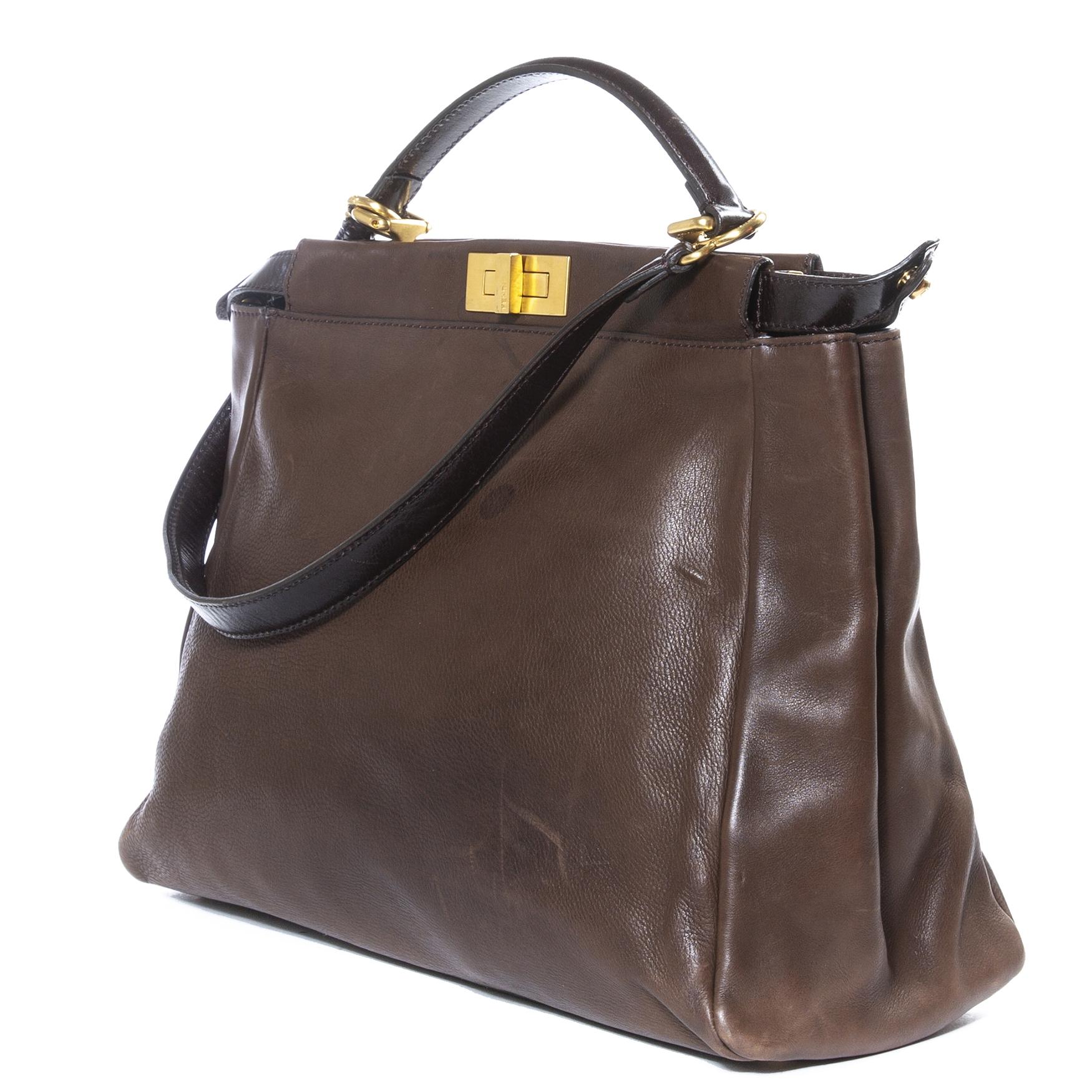 Fendi Peekaboo Brown Large Bag + Strap