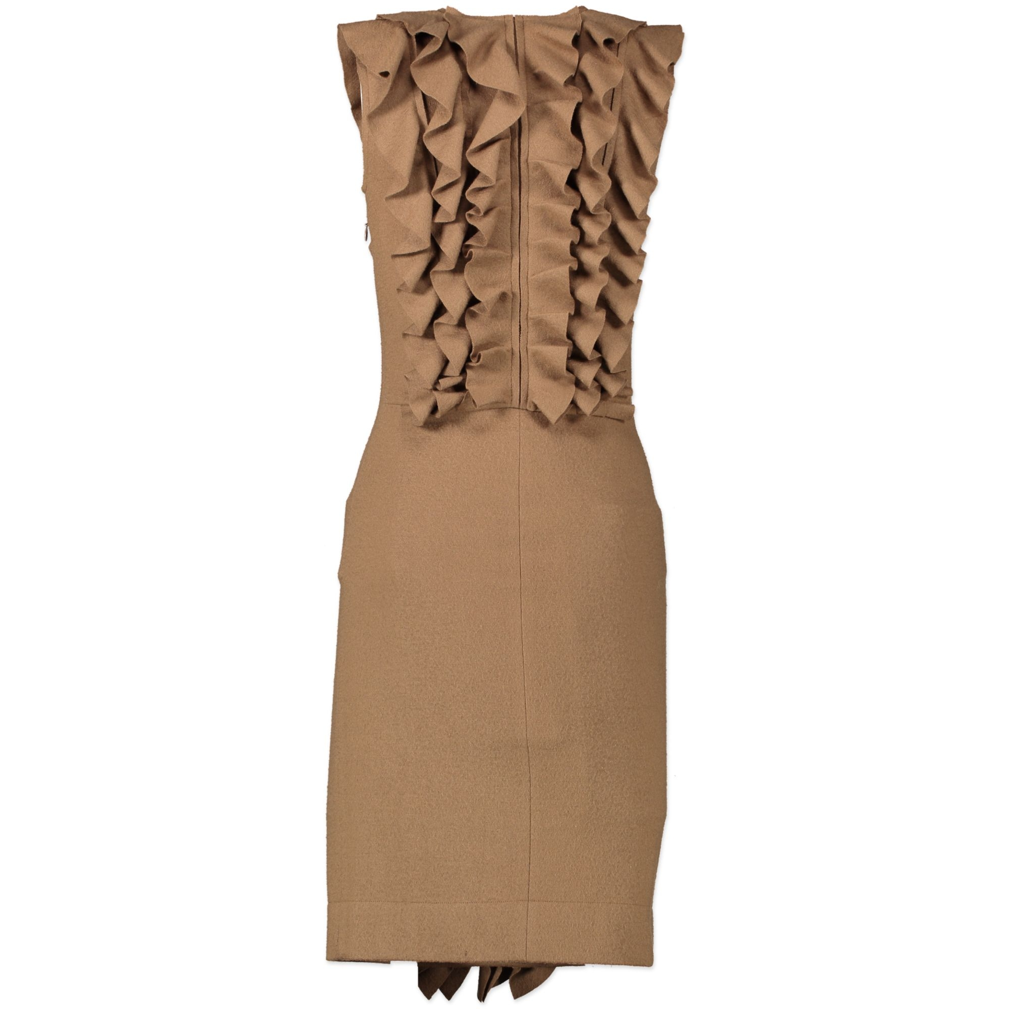 Fendi Tan Wool Ruffle Dress