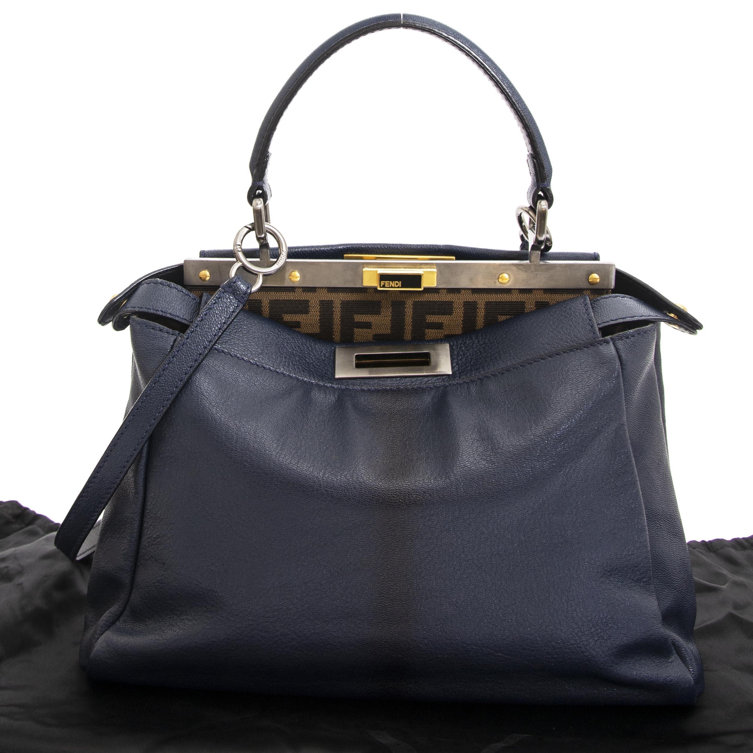 108040dcfd ... Fendi Blue Regular Peekaboo Bag now for sale at labellov vintage  fashion webshop belgium