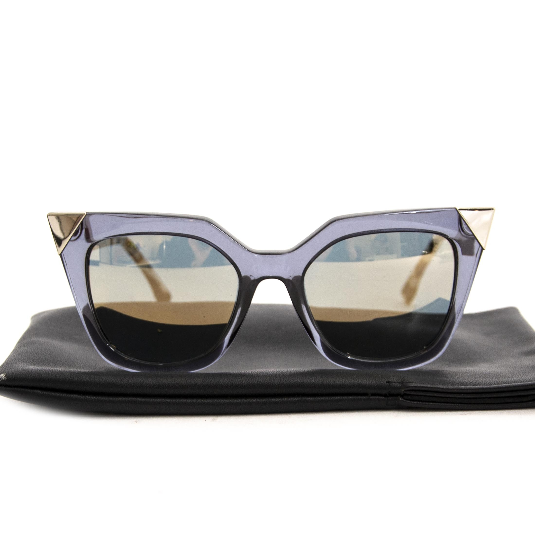 Fendi Blue Iridia Metal Tip Cat Eye Sunglasses