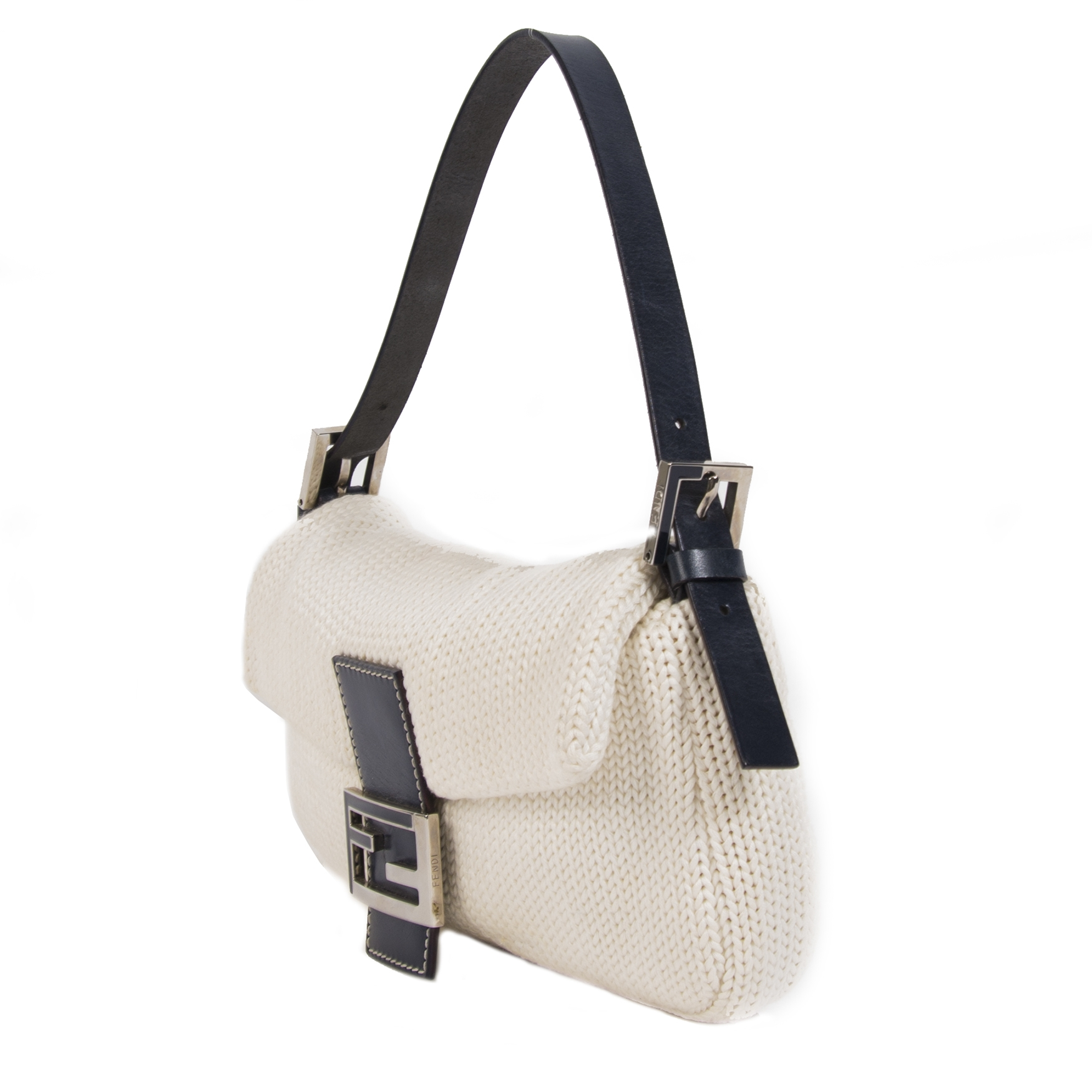 We buy and sell your authentic Fendi Ivory Knitted Baguette Bag