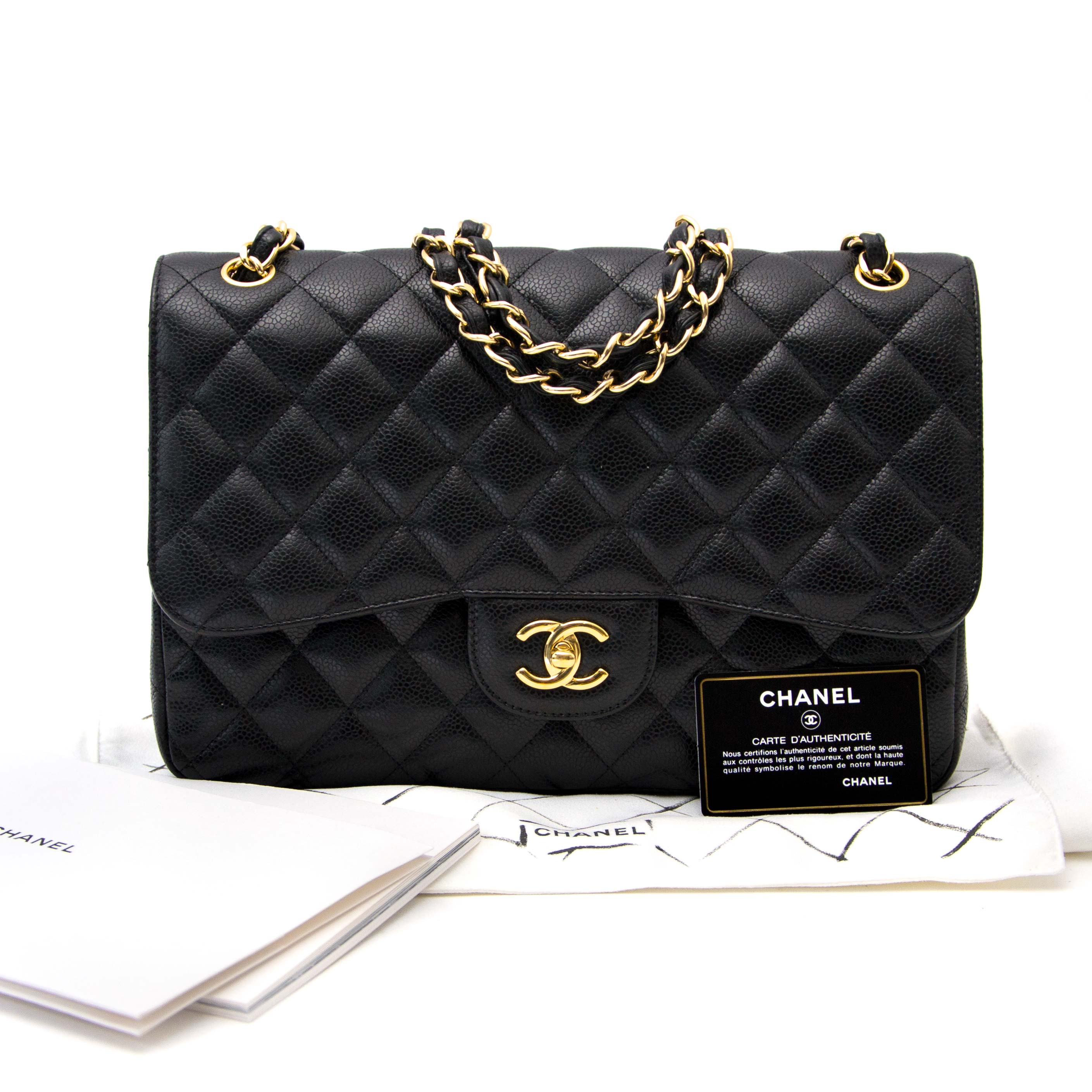 koop veilig online aan de beste prijs Chanel Black Jumbo Classic Flap Bag