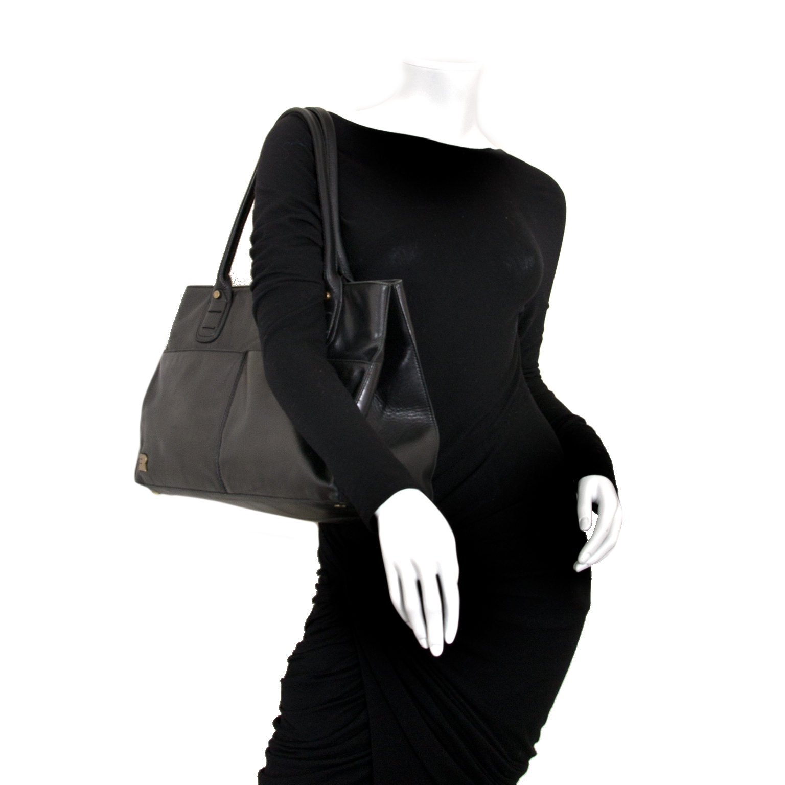 71b806648fc ... seconde main Fratelli Rossetti Black Leather Shopping Bag en vendre  chez labellov.com au meilleur