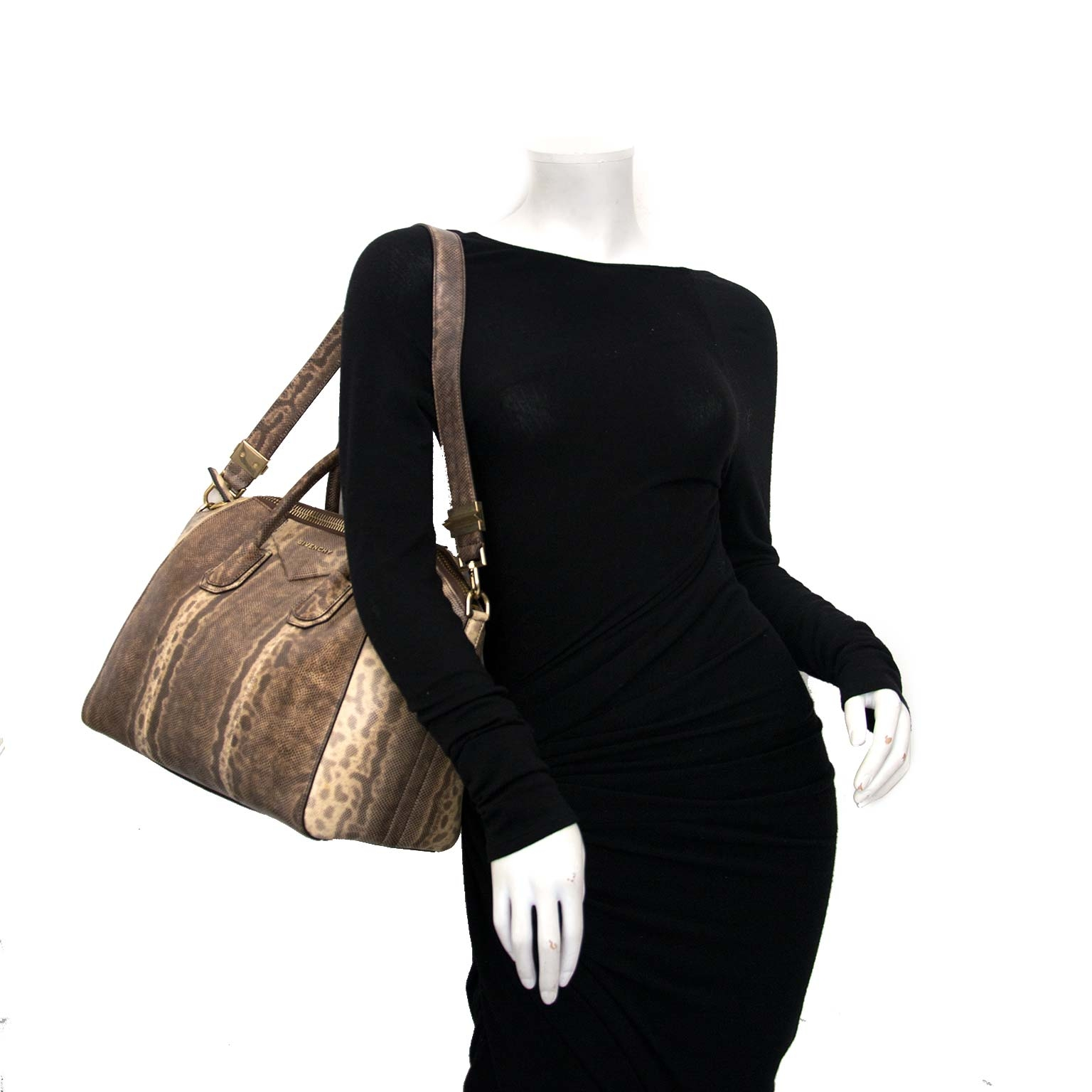 Givenchy Antigona Medium Brown Snakeskin Tote Bag