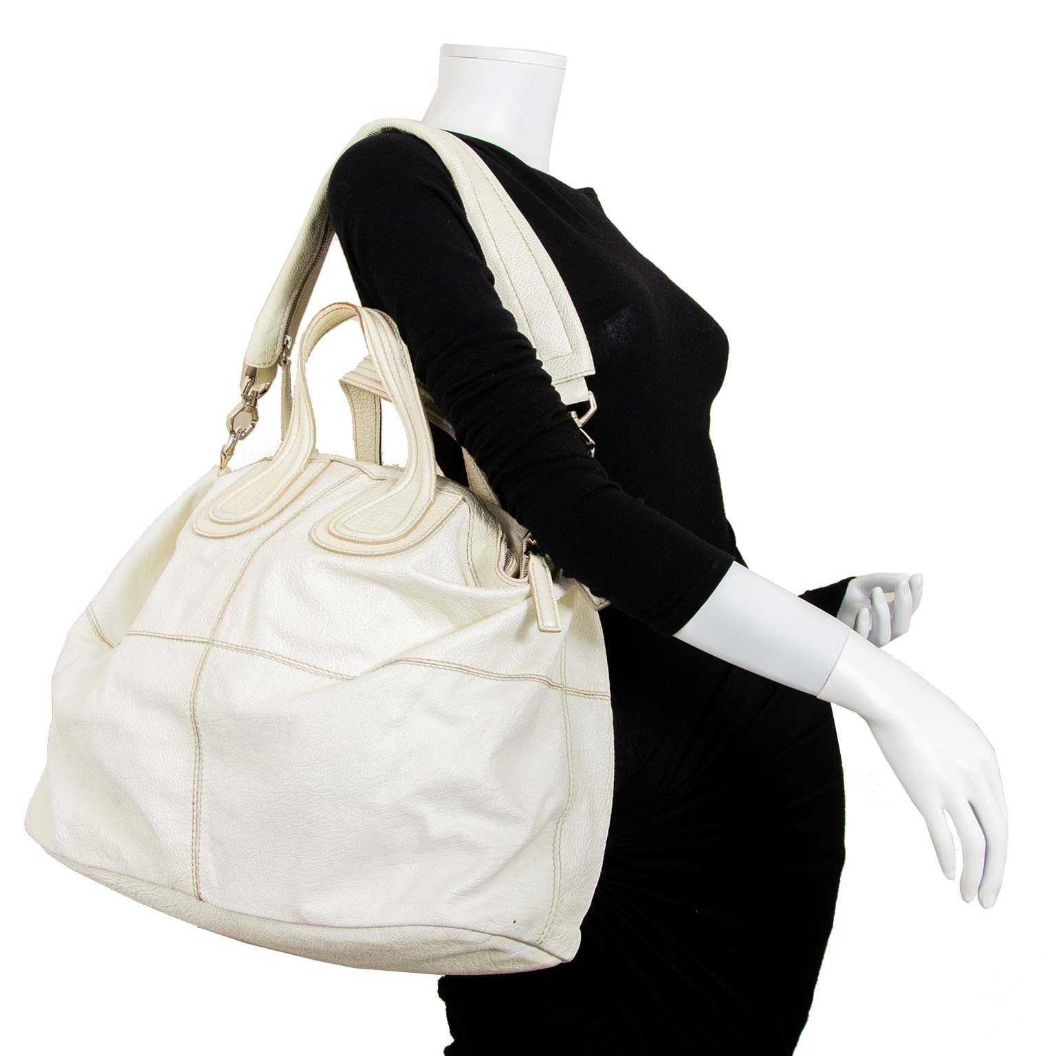 givenchy large white cream nightingale bag now for sale at labellov vintage fashion webshop belgium