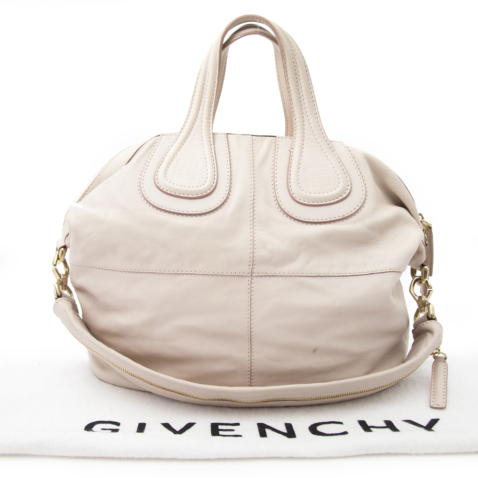 Shop safe online aan de beste prijs Givenchy Dusty White Nightingale Leather Tote Bag
