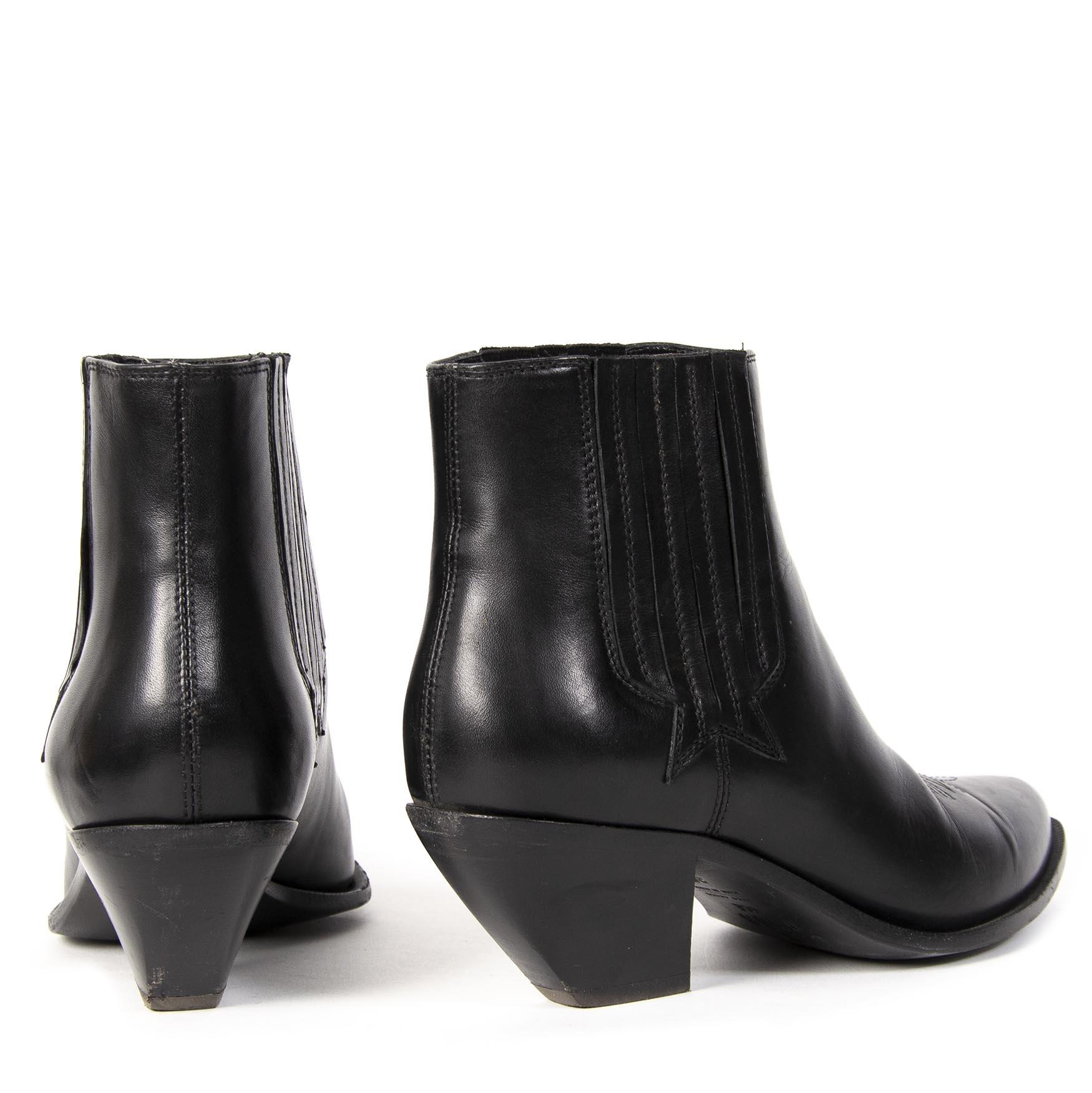 Authentieke tweedehands Golden Goose zwarte leren enkellaarzen juiste prijs veilig online winkelen LabelLOV webshop luxe merken winkelen Antwerpen België mode fashion
