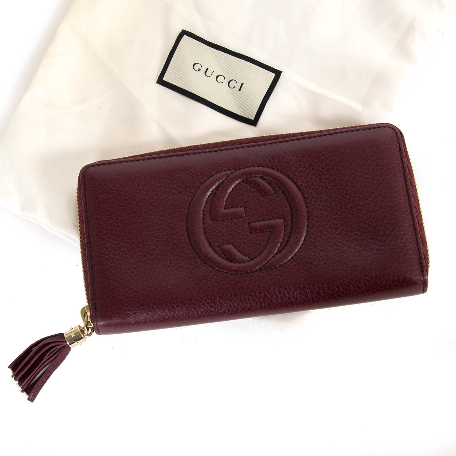 gucci soho textured-leather zip around continental wallet now for sale at labellov vintage fashion webshop belgium