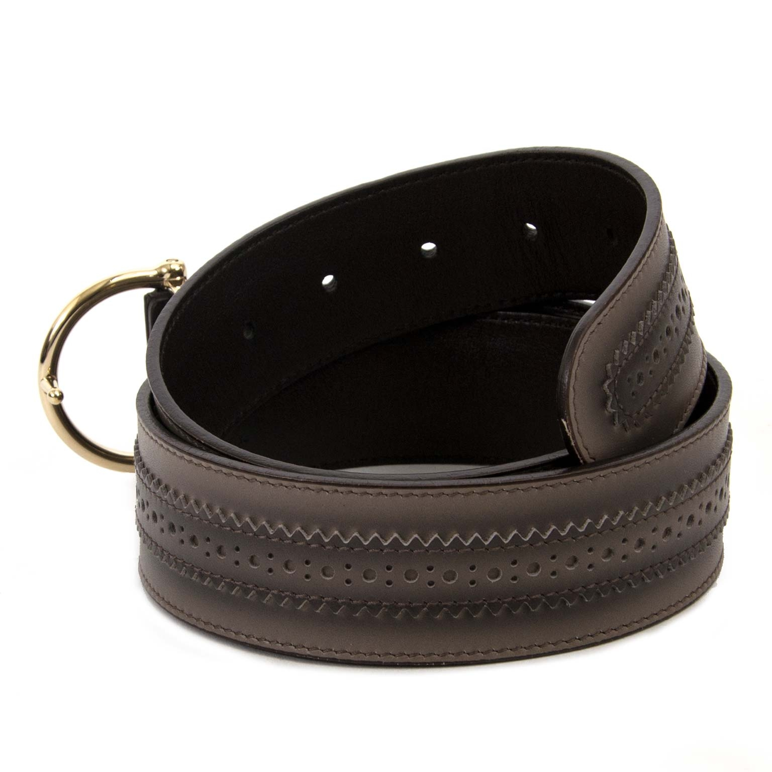 gucci grey leather horsebit belt now for sale at labellov vintage fashion webshop belgium