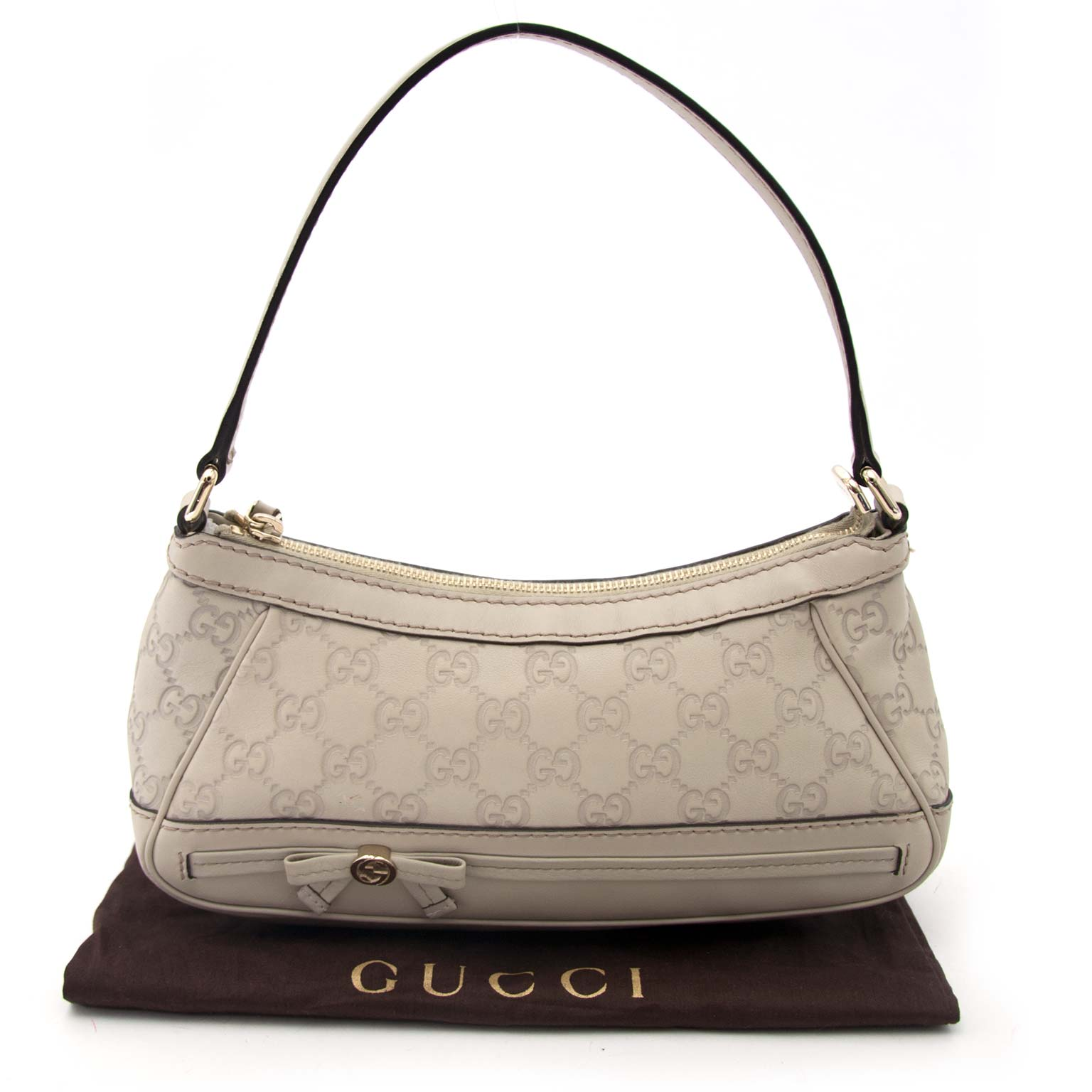 Gucci Small Beige Leather Bag With Monogram Pattern