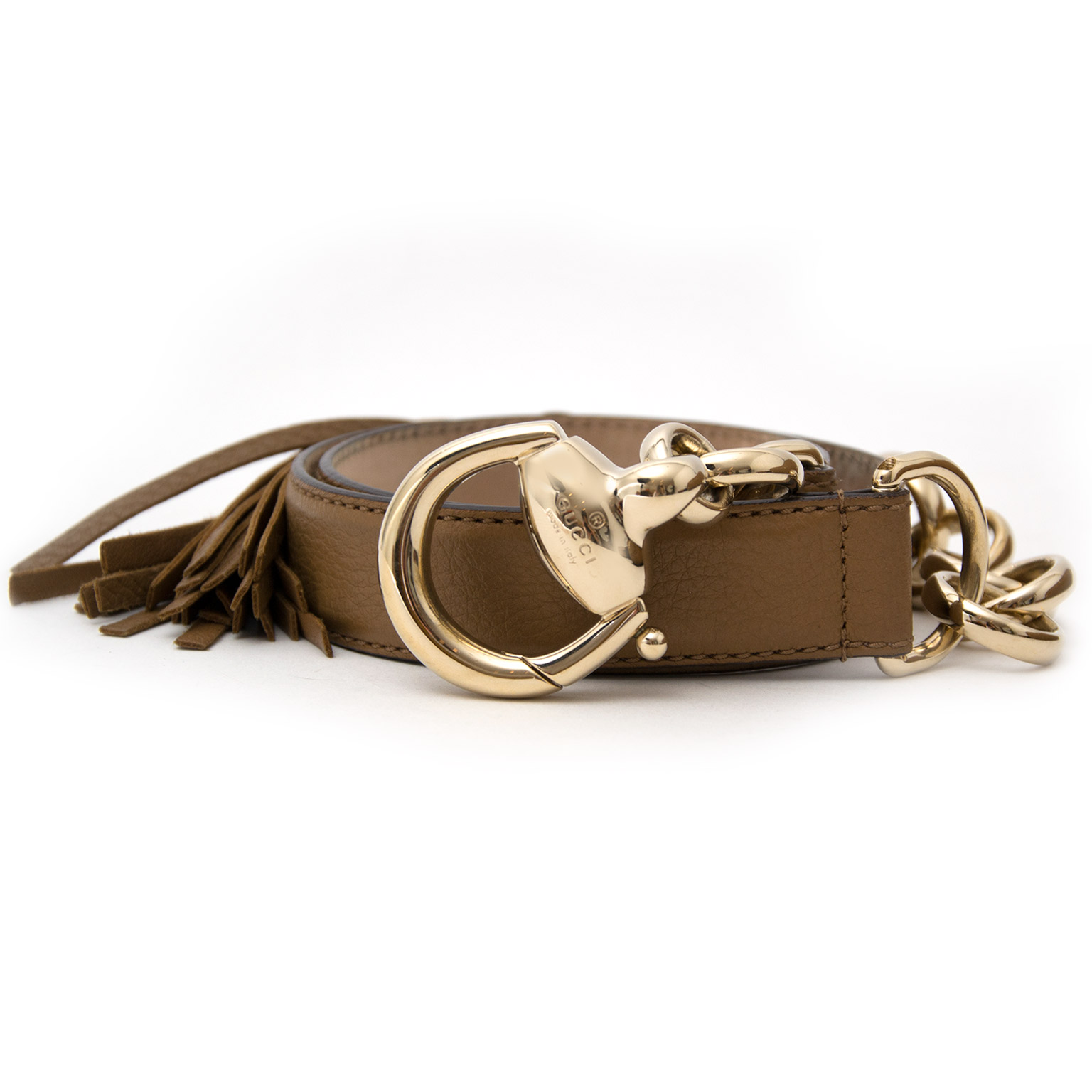 Gucci Brown Leather Bamboo Tassel Belt now online at labellov.com