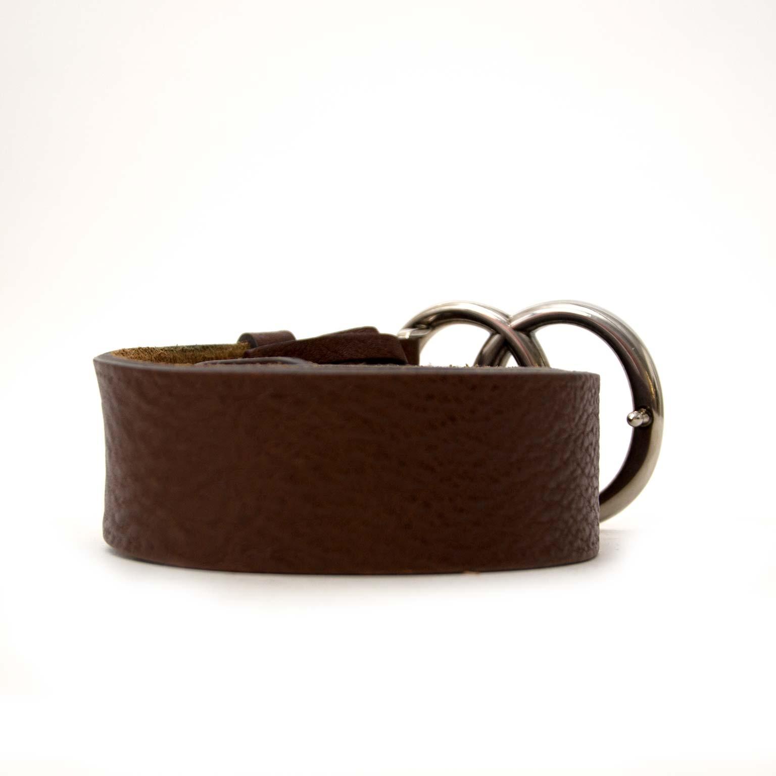 6ca84c20037 Buy authentic gucci double g brown leather belt online at labellov vintage  fashion webshop belgium koop authentieke gucci double g bruine leder riem  bij ...