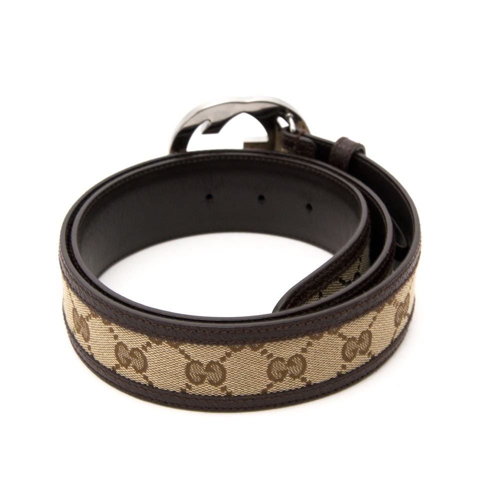 Gucci Brown Monogram Belt for the best price and with worldwide shipping