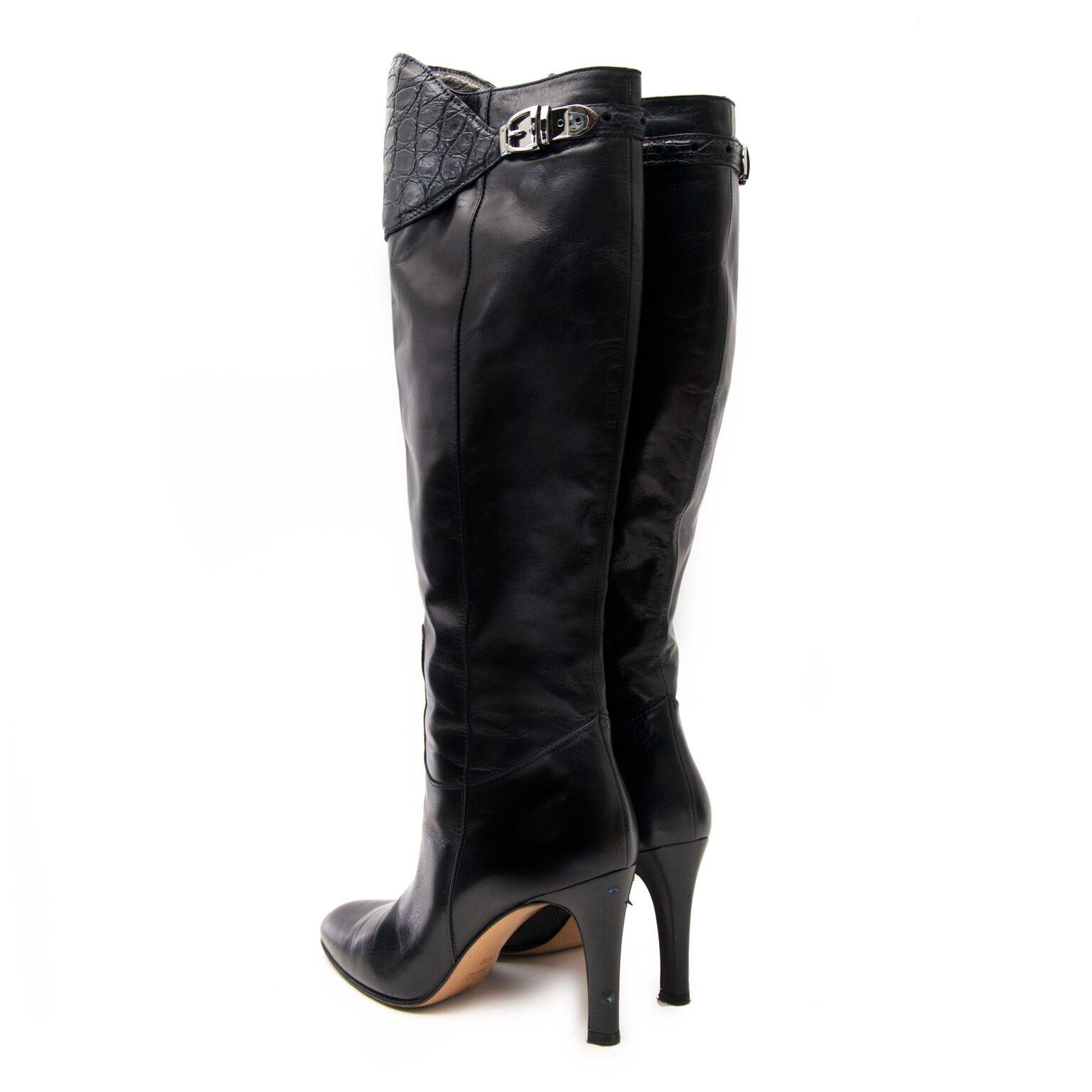 Koop mooie hoge zwarte lederen hakken van Gucci op labellov.com of in onze showroom in Antwerpen