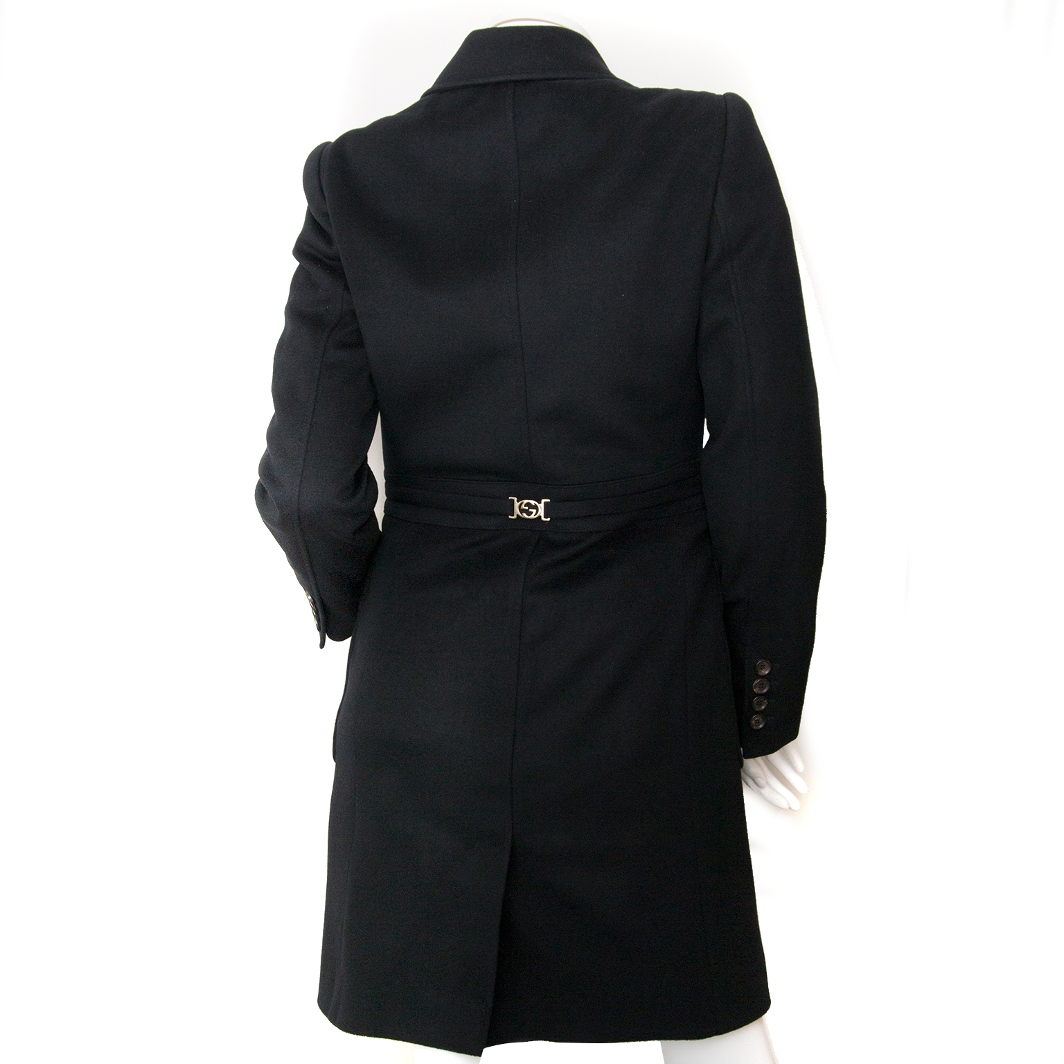 gucci wool black trench coat now for sale at labellov vintage fashion webshop belgium