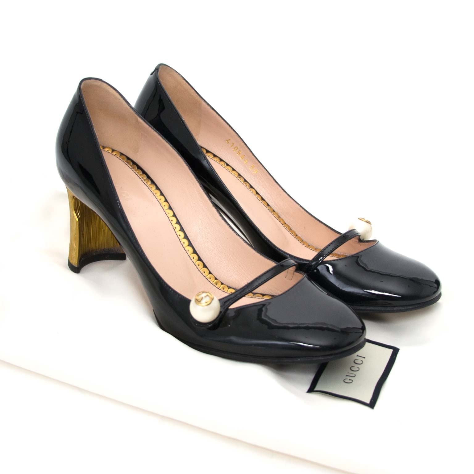shop safe onine secondhand Gucci Black Patent Leather Gold Tone High Heel Mary Jane Pumps - Size 39