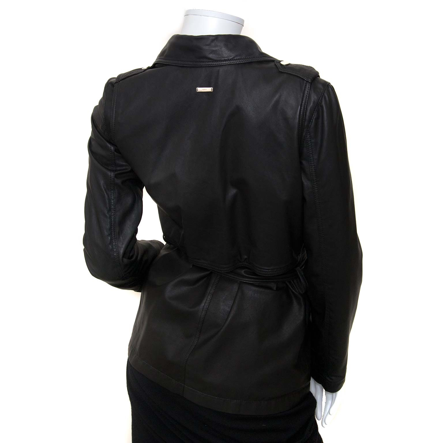 gucci black leather jacket now for sale at labellov vintage fashion webshop belgium