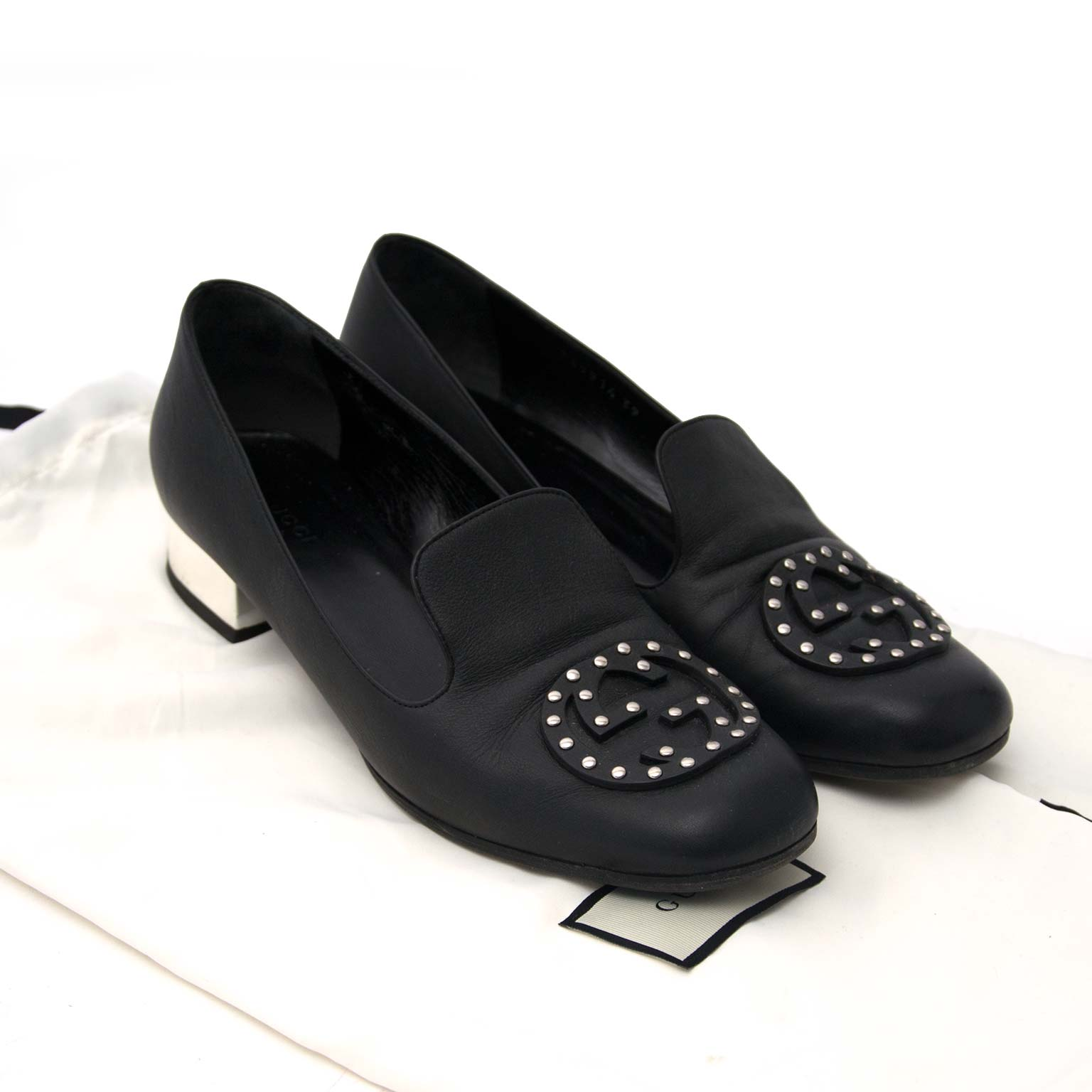 shop safe online Gucci Black Loafers Silver Heels Size 39