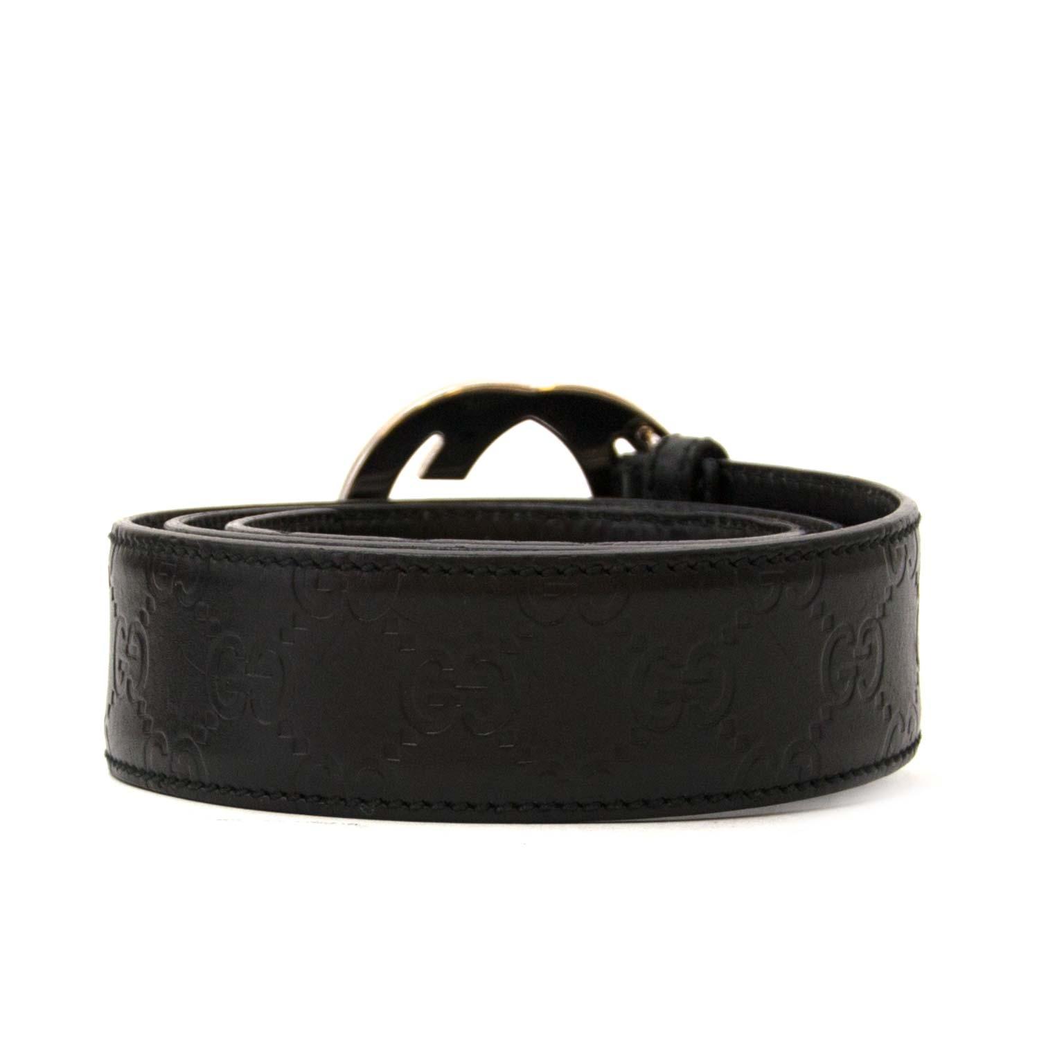 cea41008708 ... belt now for sale online at labellov vintage fashion webshop belgium  gucci black interlocking g riem nu te koop bij labellov vintage mode  webshop belgië