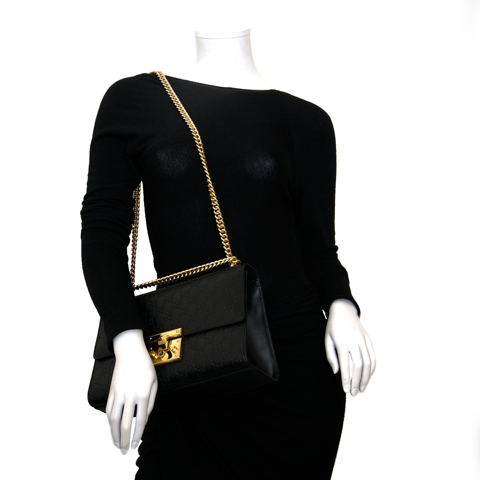 Gucci Black Padlock Medium Signature Shoulder Bag now online at labellov.com for the best price
