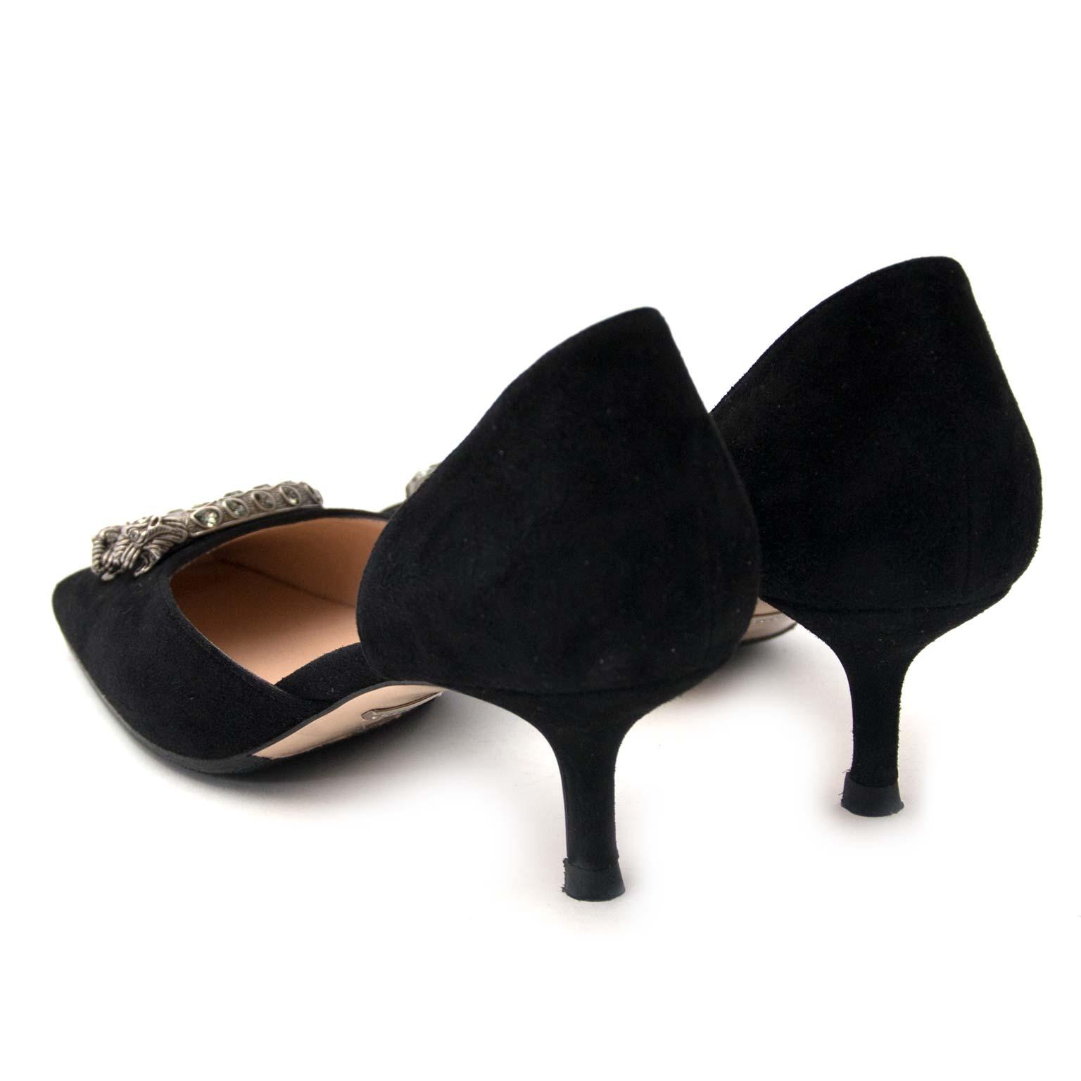 Gucci Black Dionysus Kitten Heel Pumps Suede Size 39 koop veilig online tegen de beste prijs