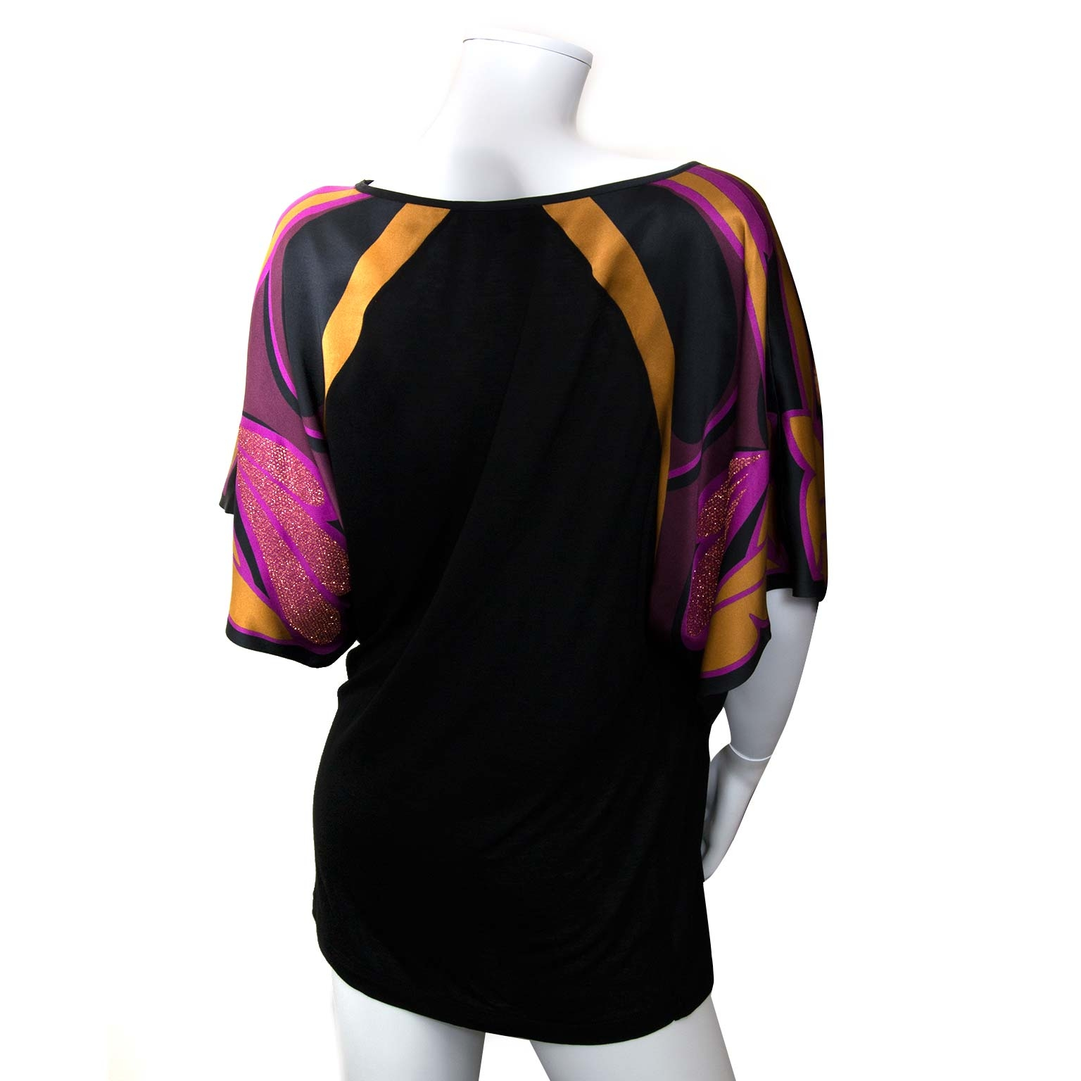 gucci black blouse with silk multicolor sleeves now for sale at labellov vintage fashion webshop belgium